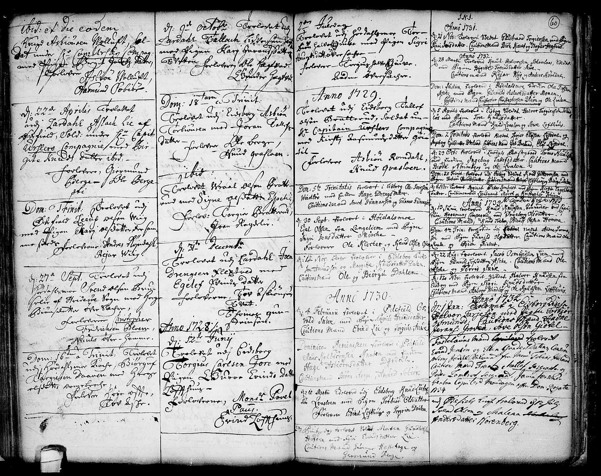 SAKO, Lårdal kirkebøker, F/Fa/L0001: Ministerialbok nr. I 1, 1721-1734, s. 60
