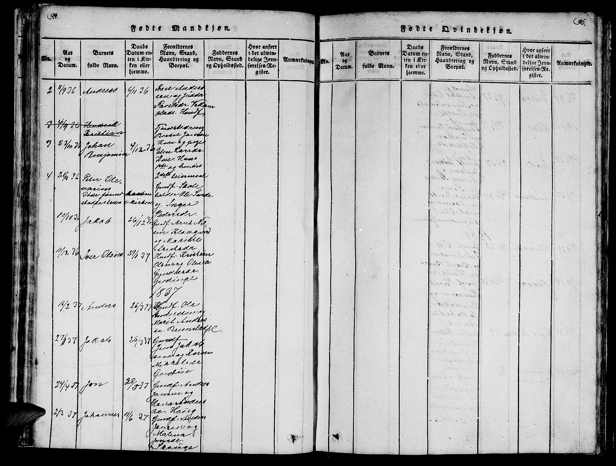 SAT, Ministerialprotokoller, klokkerbøker og fødselsregistre - Nord-Trøndelag, 747/L0459: Klokkerbok nr. 747C01, 1816-1842, s. 94-95