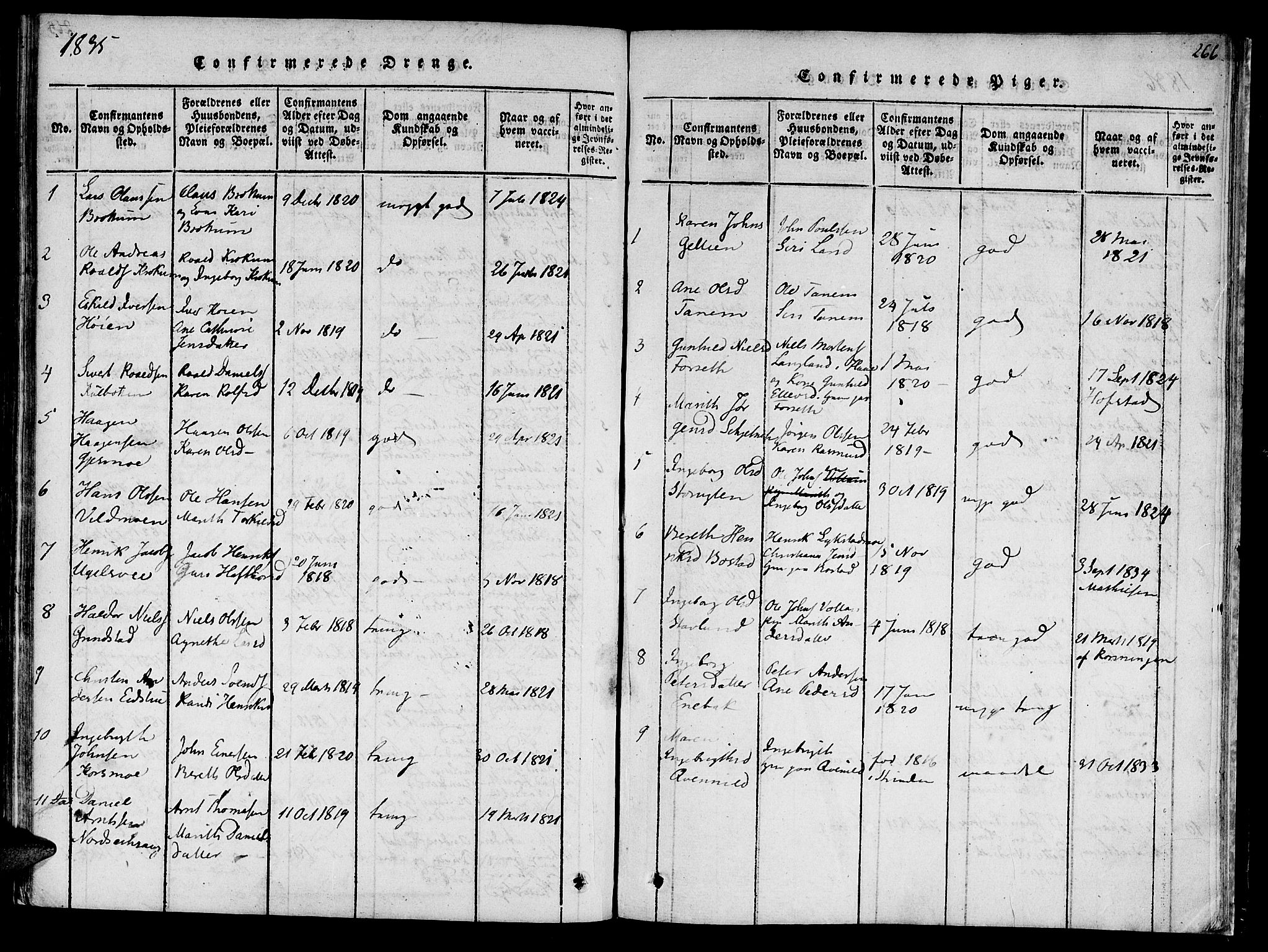 SAT, Ministerialprotokoller, klokkerbøker og fødselsregistre - Sør-Trøndelag, 618/L0439: Ministerialbok nr. 618A04 /1, 1816-1843, s. 266