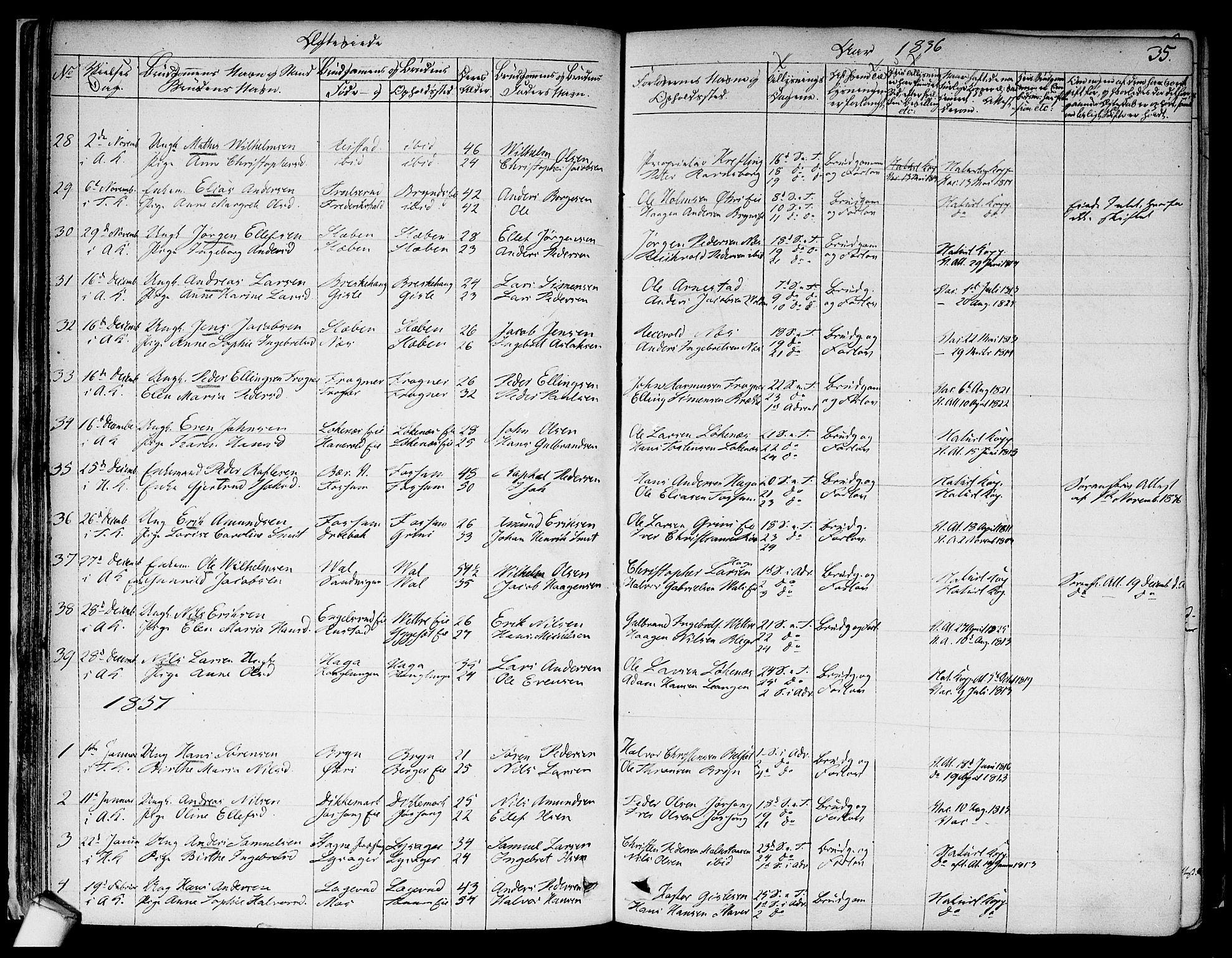SAO, Asker prestekontor Kirkebøker, F/Fa/L0010: Ministerialbok nr. I 10, 1825-1878, s. 35