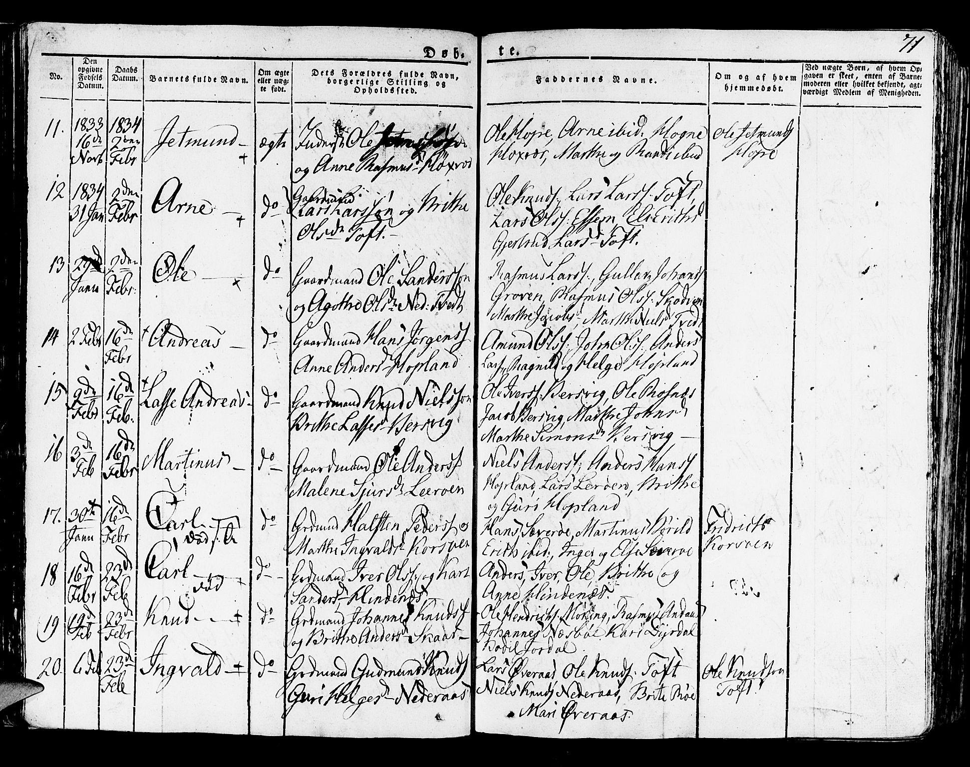 SAB, Lindås Sokneprestembete, H/Haa: Ministerialbok nr. A 8, 1823-1836, s. 71