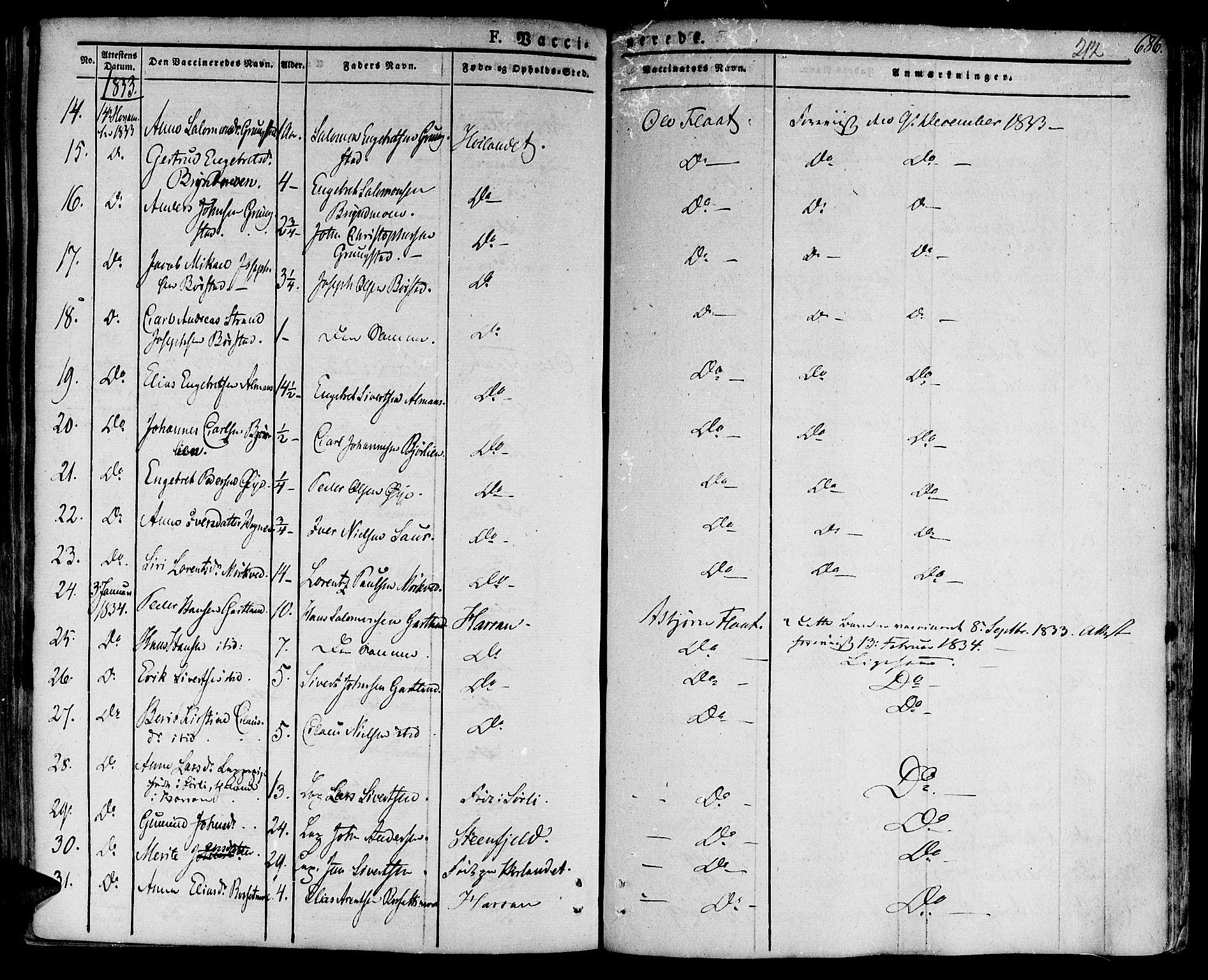 SAT, Ministerialprotokoller, klokkerbøker og fødselsregistre - Nord-Trøndelag, 758/L0510: Ministerialbok nr. 758A01 /1, 1821-1841, s. 212