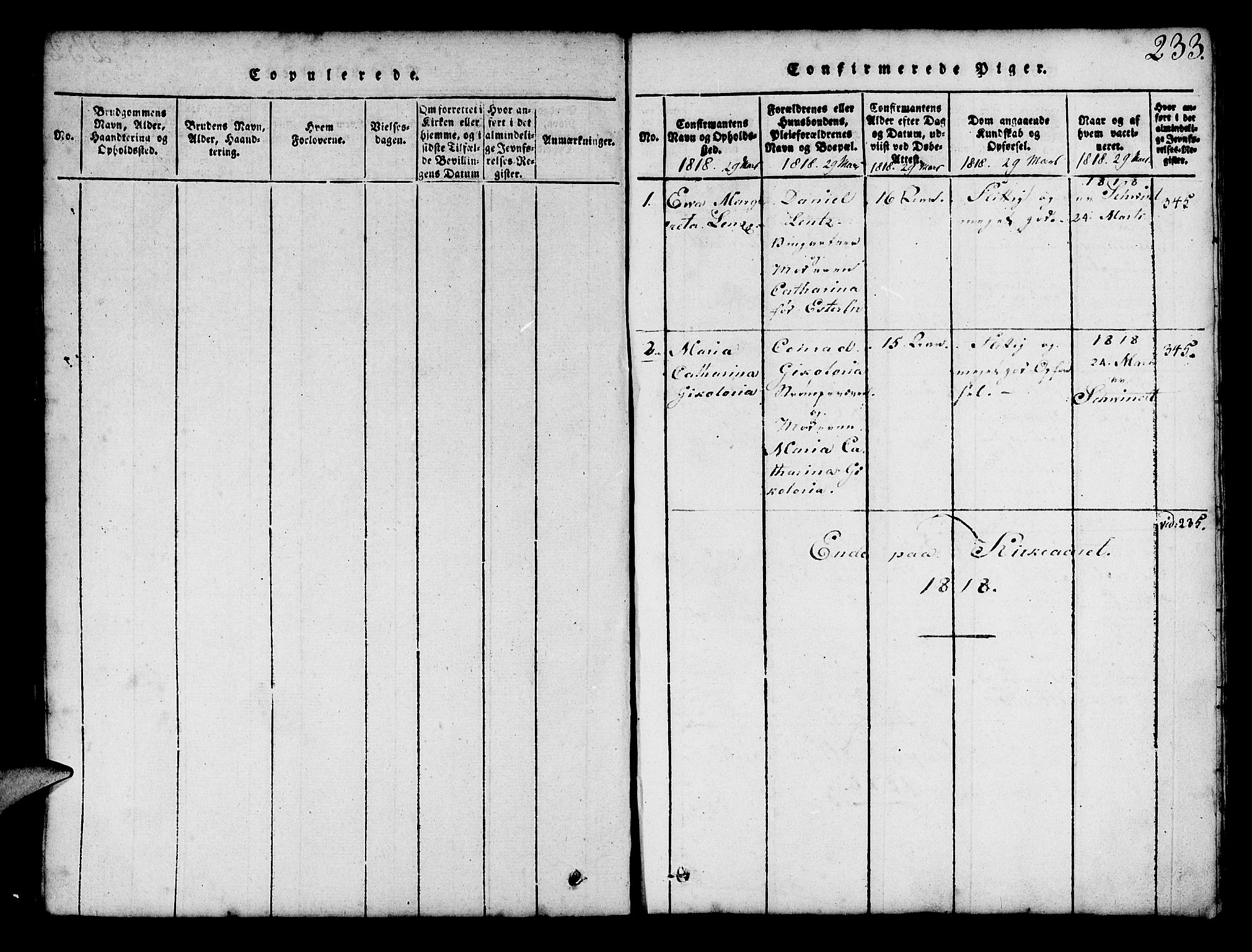 SAB, Mariakirken Sokneprestembete, H/Hab/L0001: Klokkerbok nr. A 1, 1815-1846, s. 233