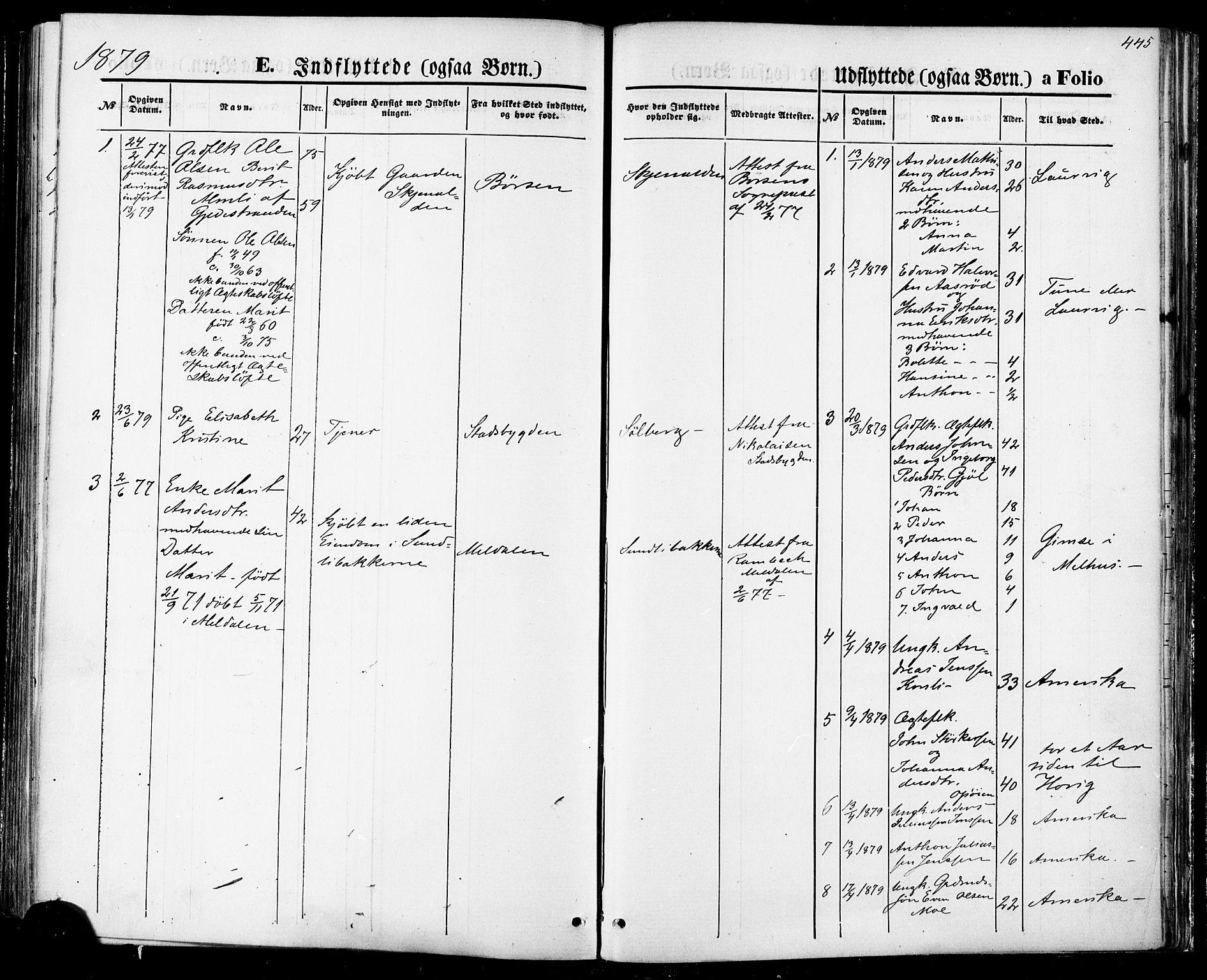 SAT, Ministerialprotokoller, klokkerbøker og fødselsregistre - Sør-Trøndelag, 668/L0807: Ministerialbok nr. 668A07, 1870-1880, s. 445