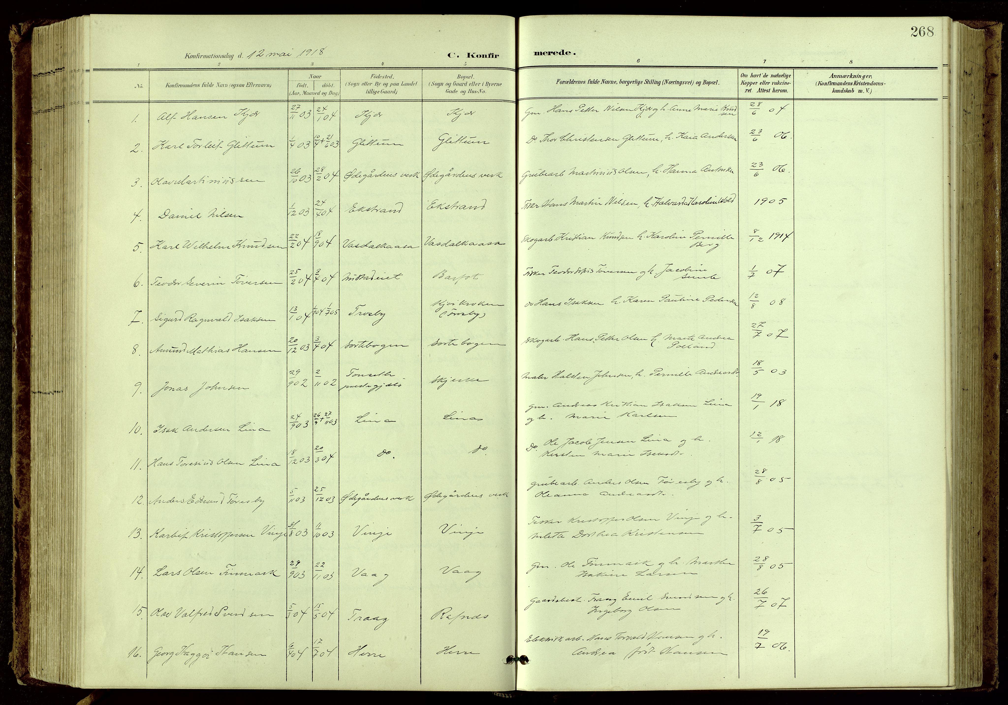 SAKO, Bamble kirkebøker, G/Ga/L0010: Klokkerbok nr. I 10, 1901-1919, s. 268