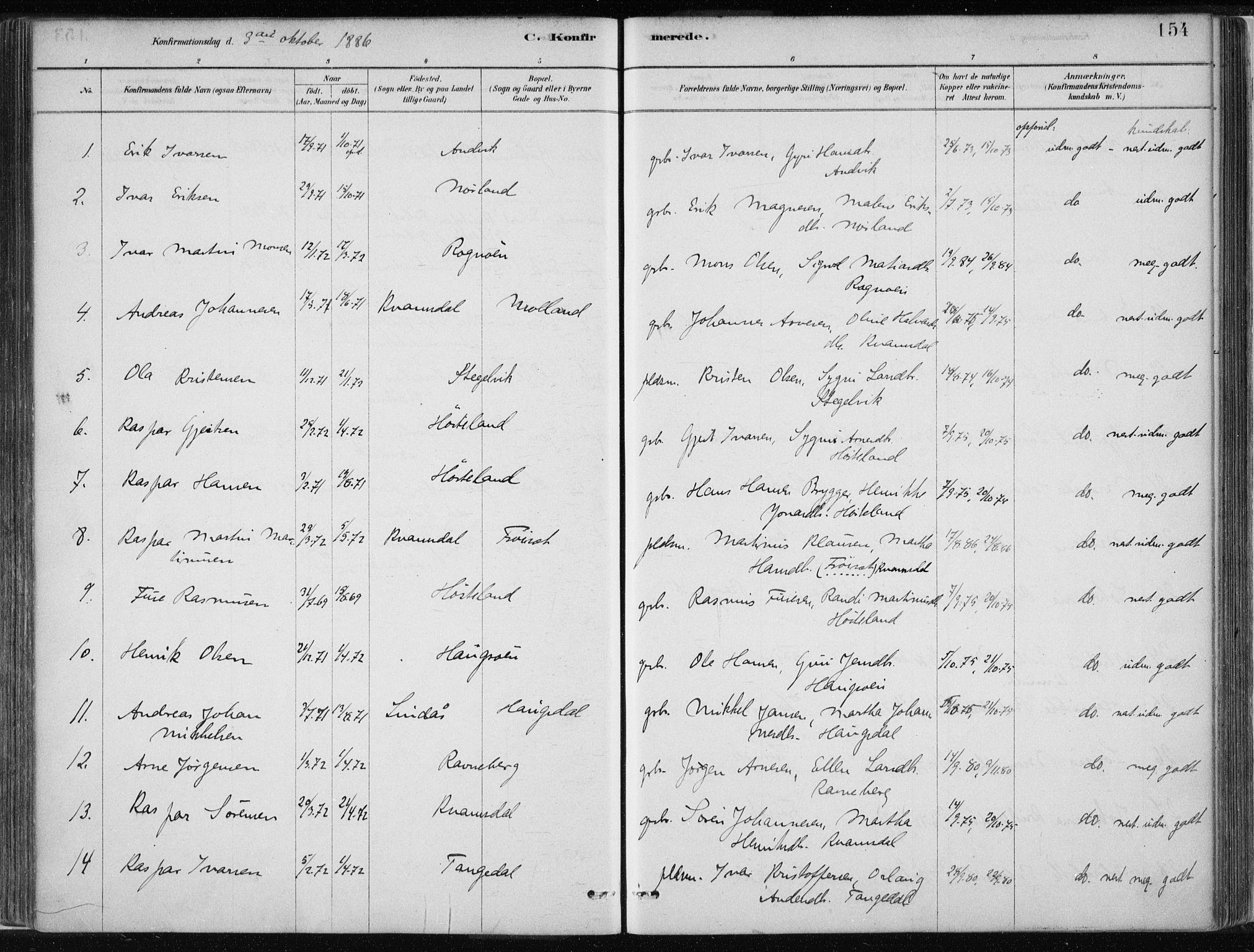 SAB, Masfjorden Soknepresembete, Ministerialbok nr. B  1, 1876-1899, s. 154