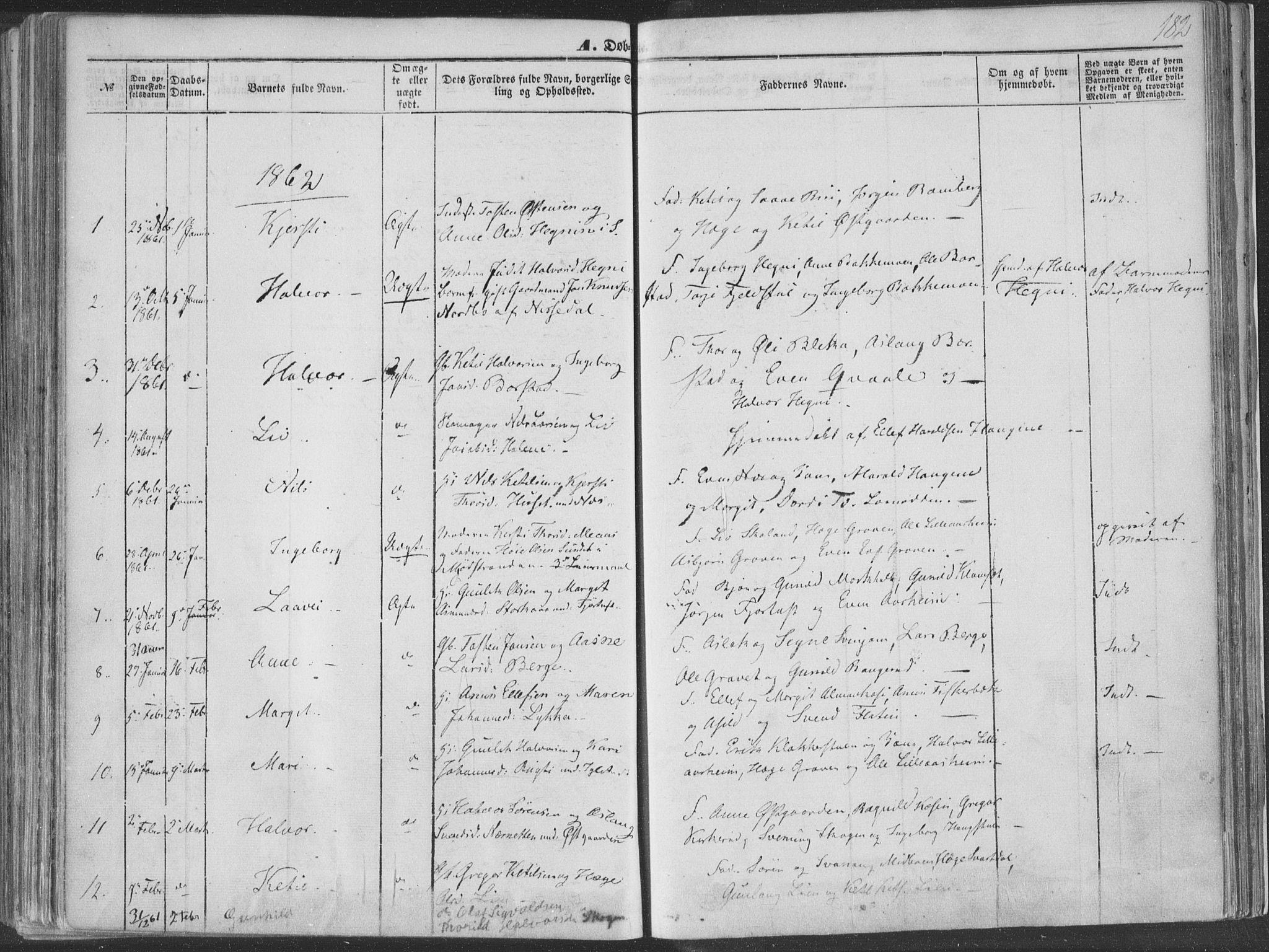 SAKO, Seljord kirkebøker, F/Fa/L012a: Ministerialbok nr. I 12A, 1850-1865, s. 182