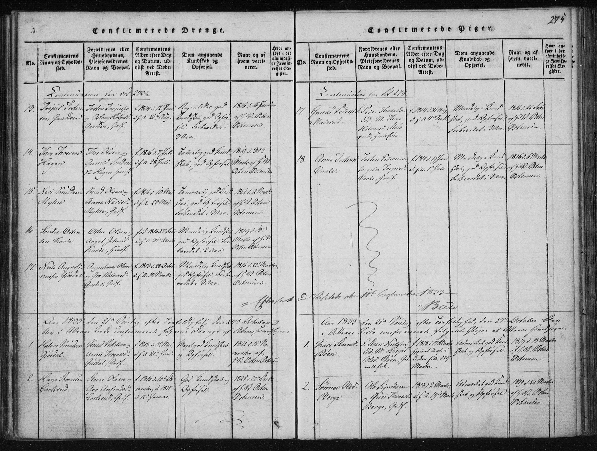 SAKO, Tinn kirkebøker, F/Fa/L0004: Ministerialbok nr. I 4, 1815-1843, s. 275