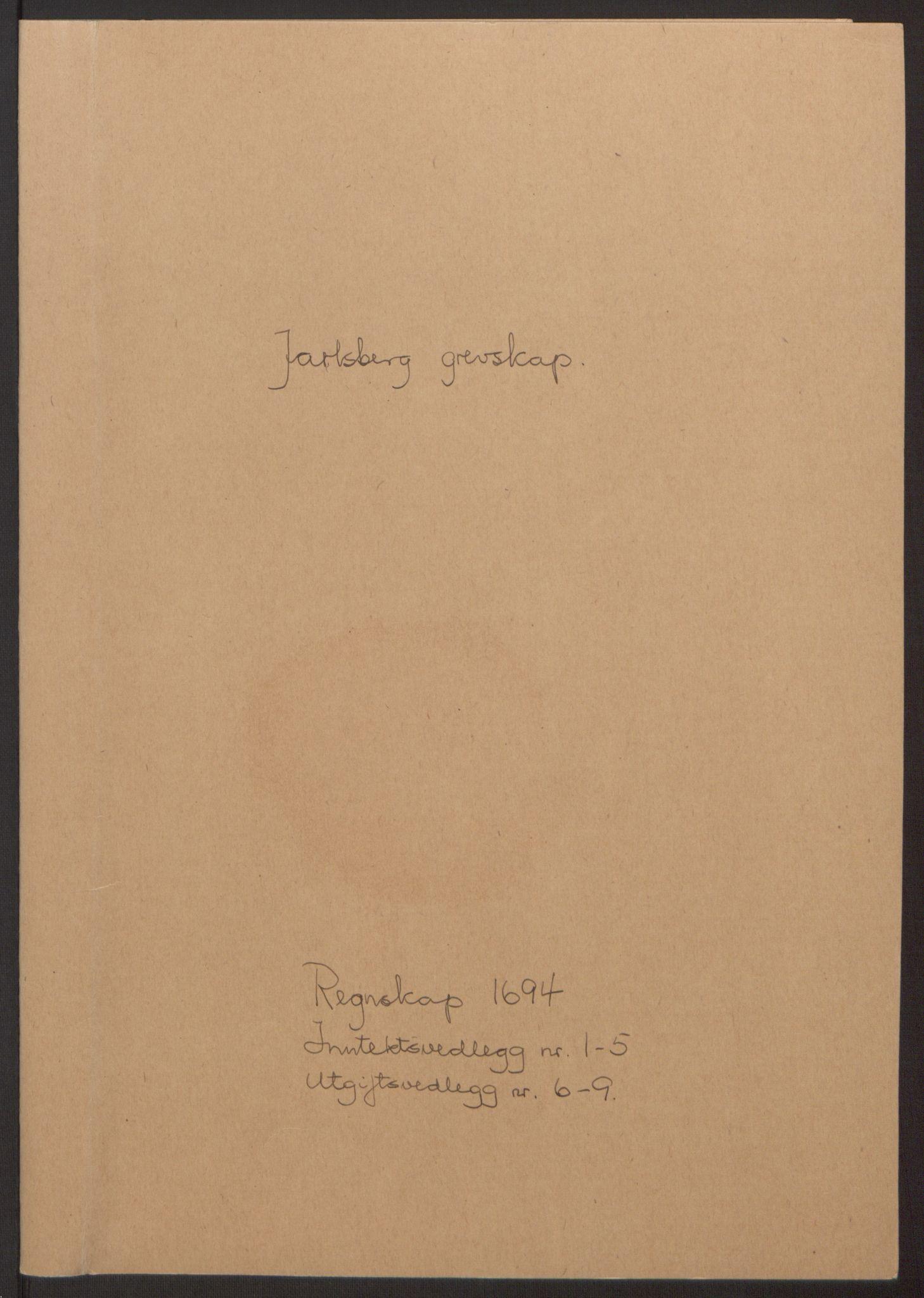 RA, Rentekammeret inntil 1814, Reviderte regnskaper, Fogderegnskap, R32/L1867: Fogderegnskap Jarlsberg grevskap, 1694-1696, s. 2