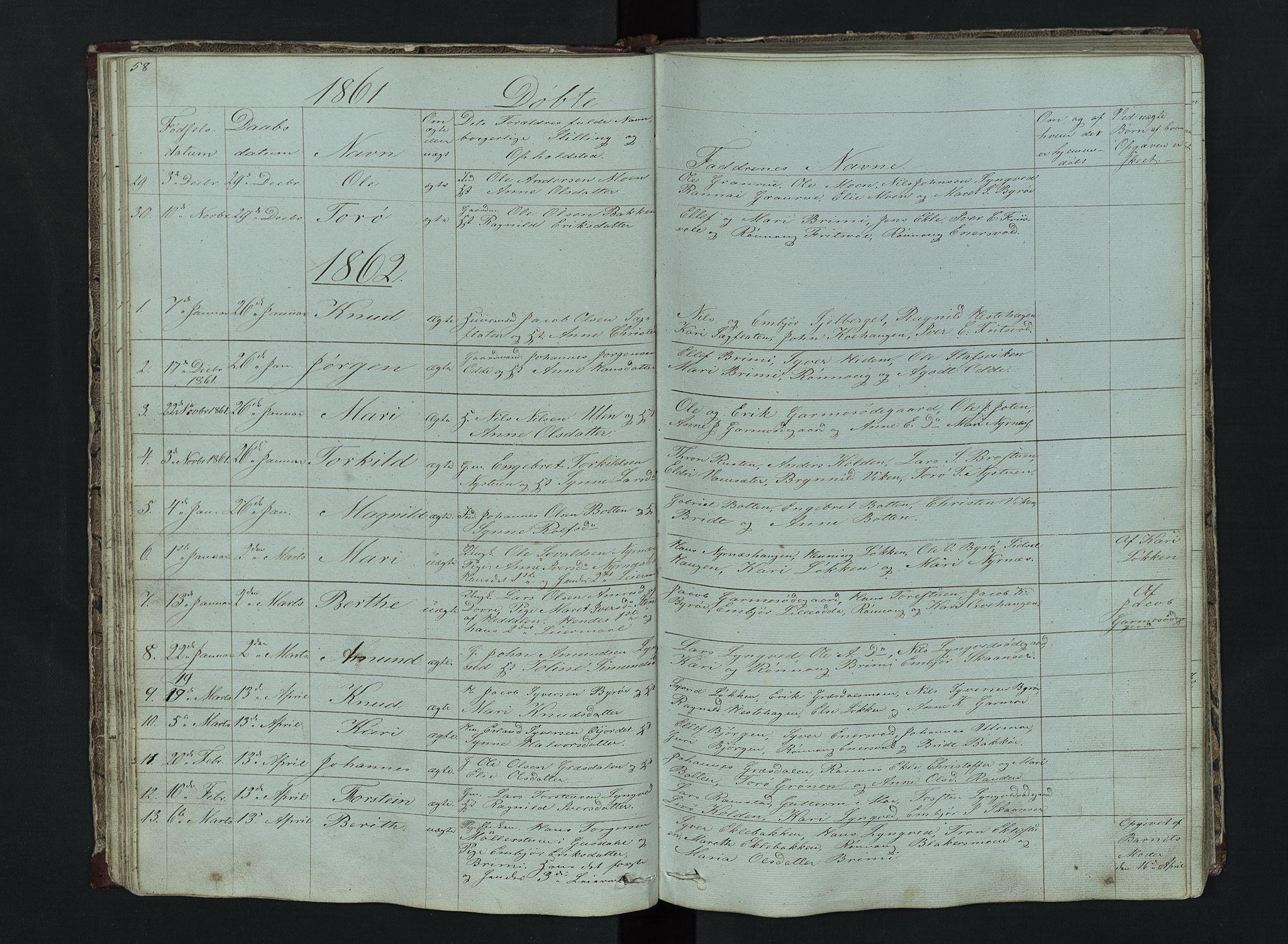 SAH, Lom prestekontor, L/L0014: Klokkerbok nr. 14, 1845-1876, s. 58-59