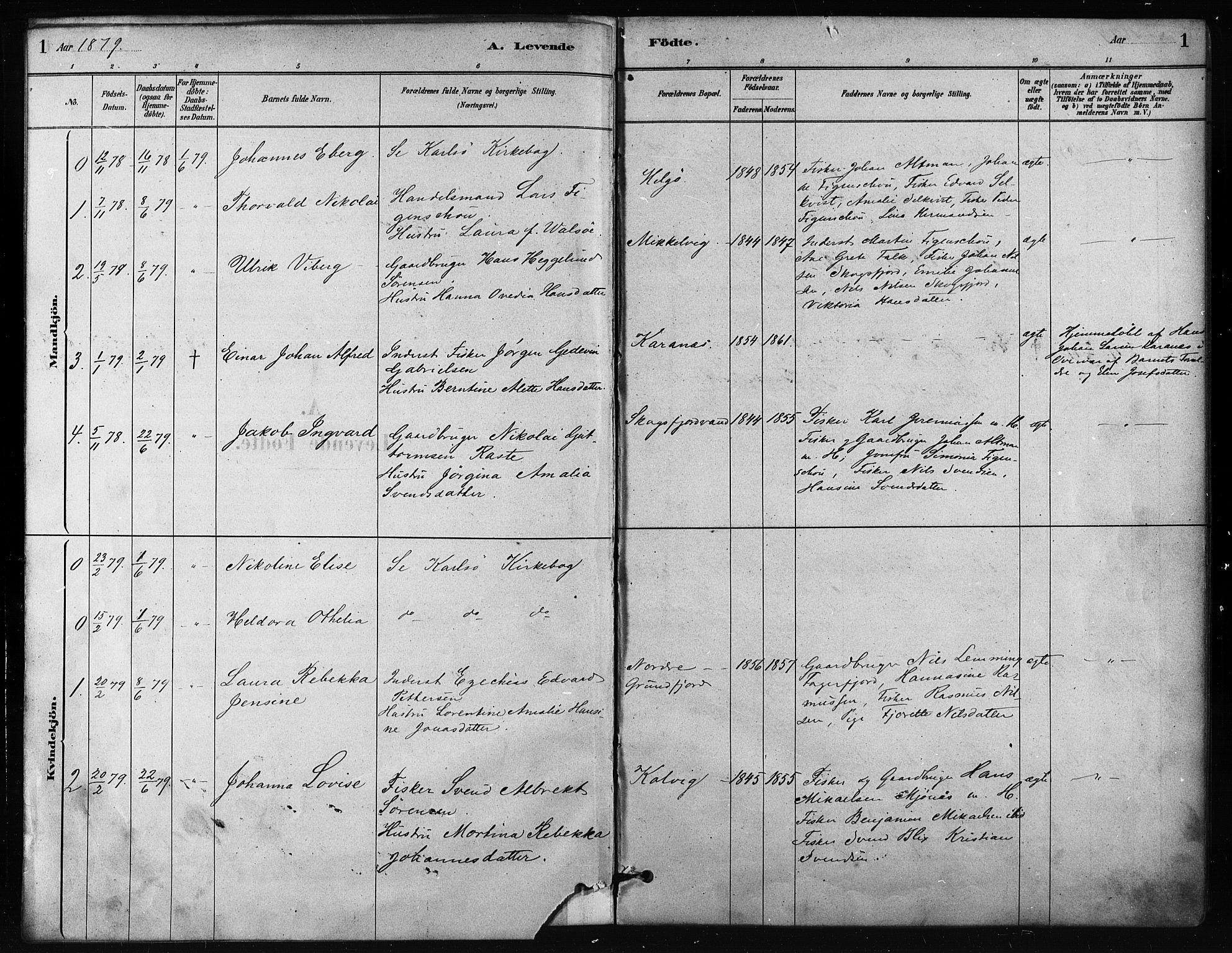 SATØ, Karlsøy sokneprestembete, H/Ha/Haa/L0011kirke: Ministerialbok nr. 11, 1879-1892, s. 1