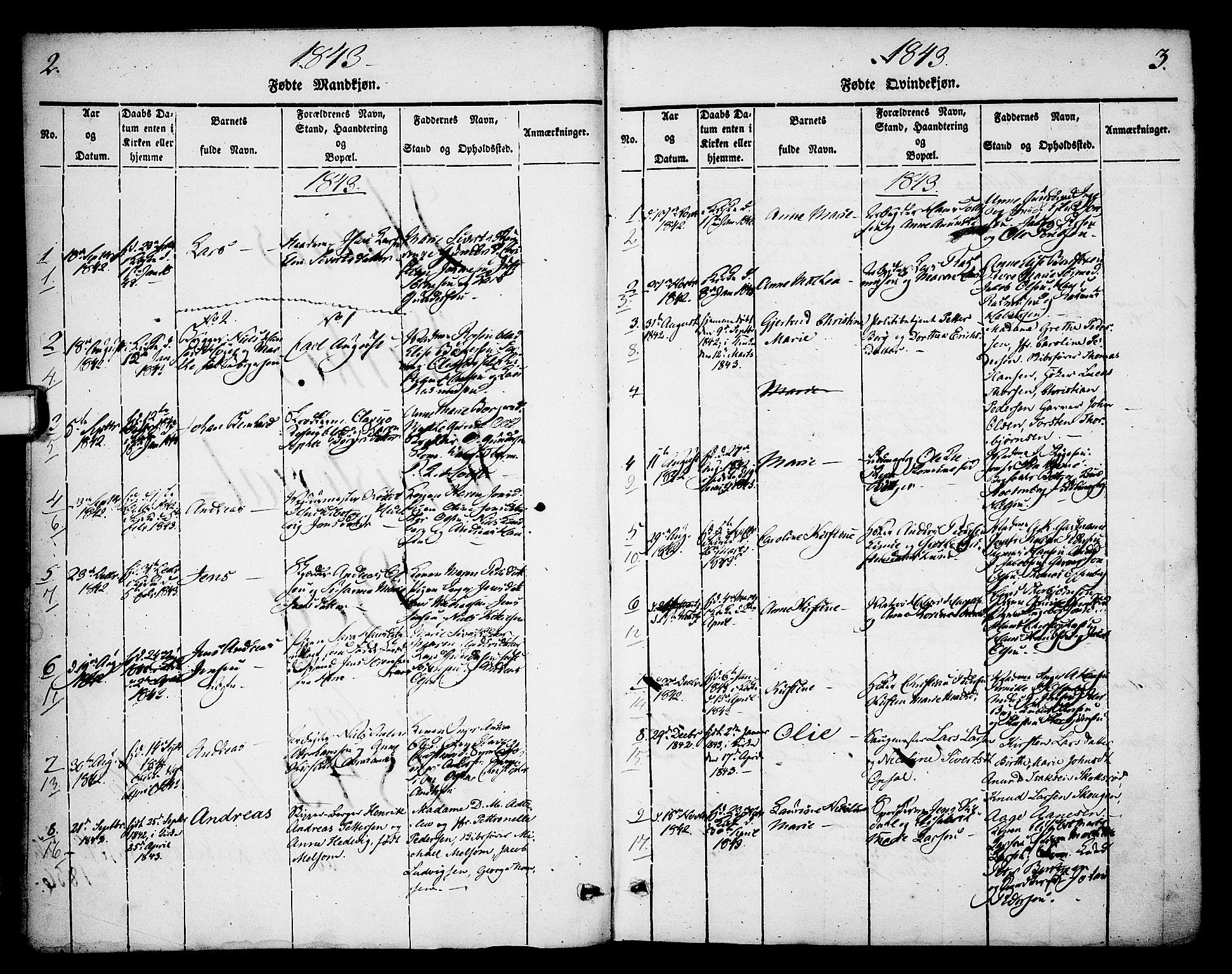 SAKO, Skien kirkebøker, F/Fa/L0006b: Ministerialbok nr. 6B, 1843-1846, s. 2-3