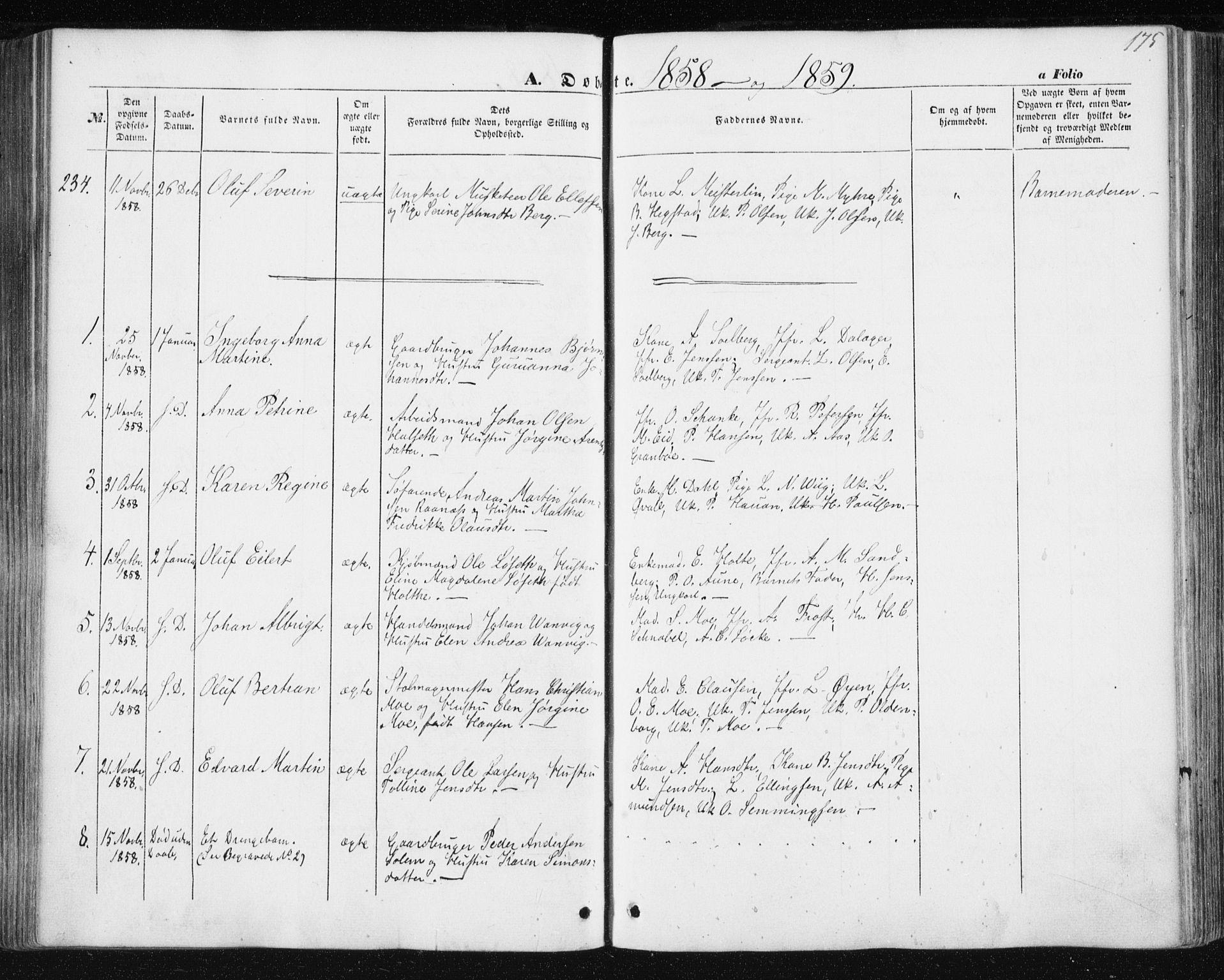 SAT, Ministerialprotokoller, klokkerbøker og fødselsregistre - Sør-Trøndelag, 602/L0112: Ministerialbok nr. 602A10, 1848-1859, s. 175