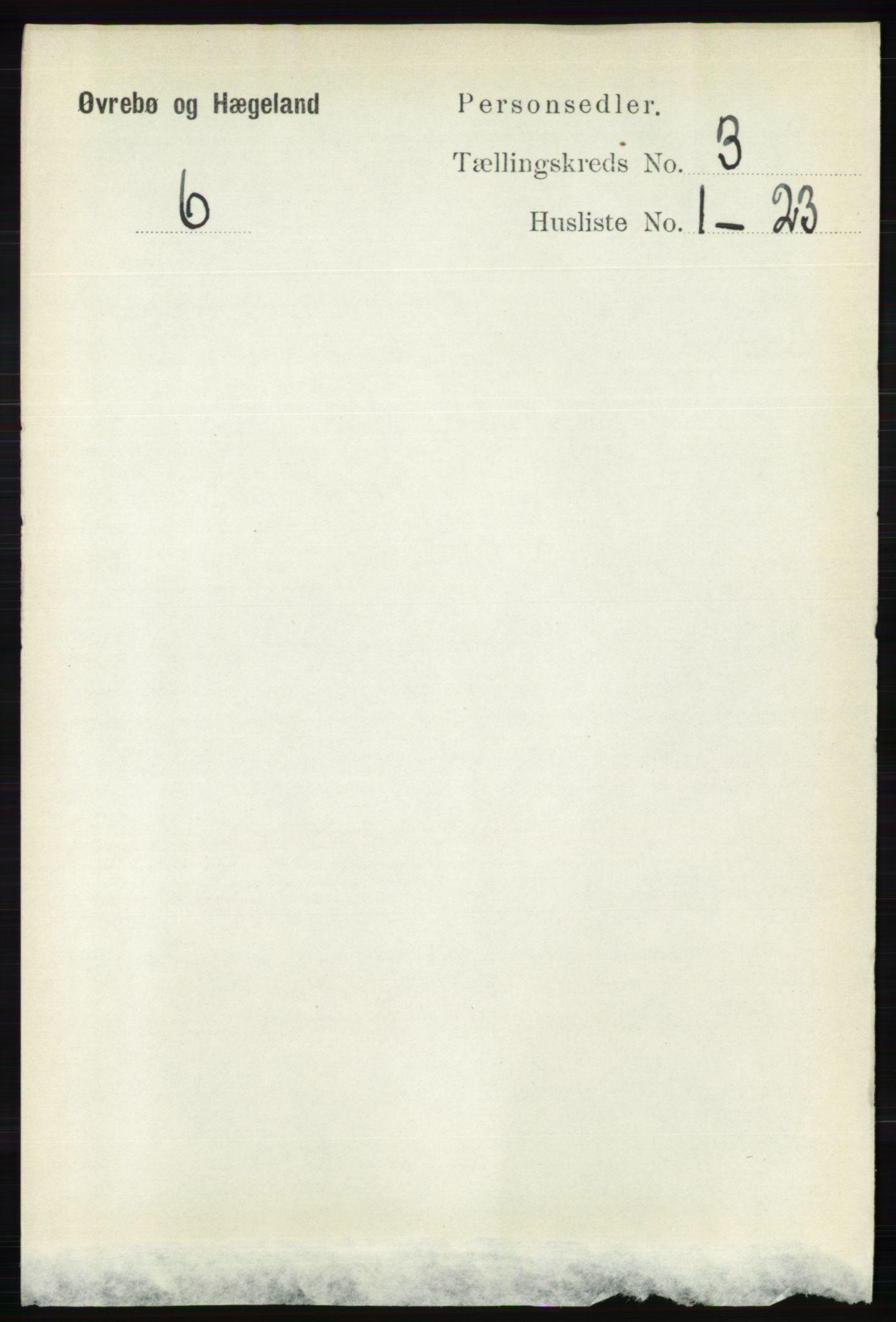 RA, Folketelling 1891 for 1016 Øvrebø og Hægeland herred, 1891, s. 523