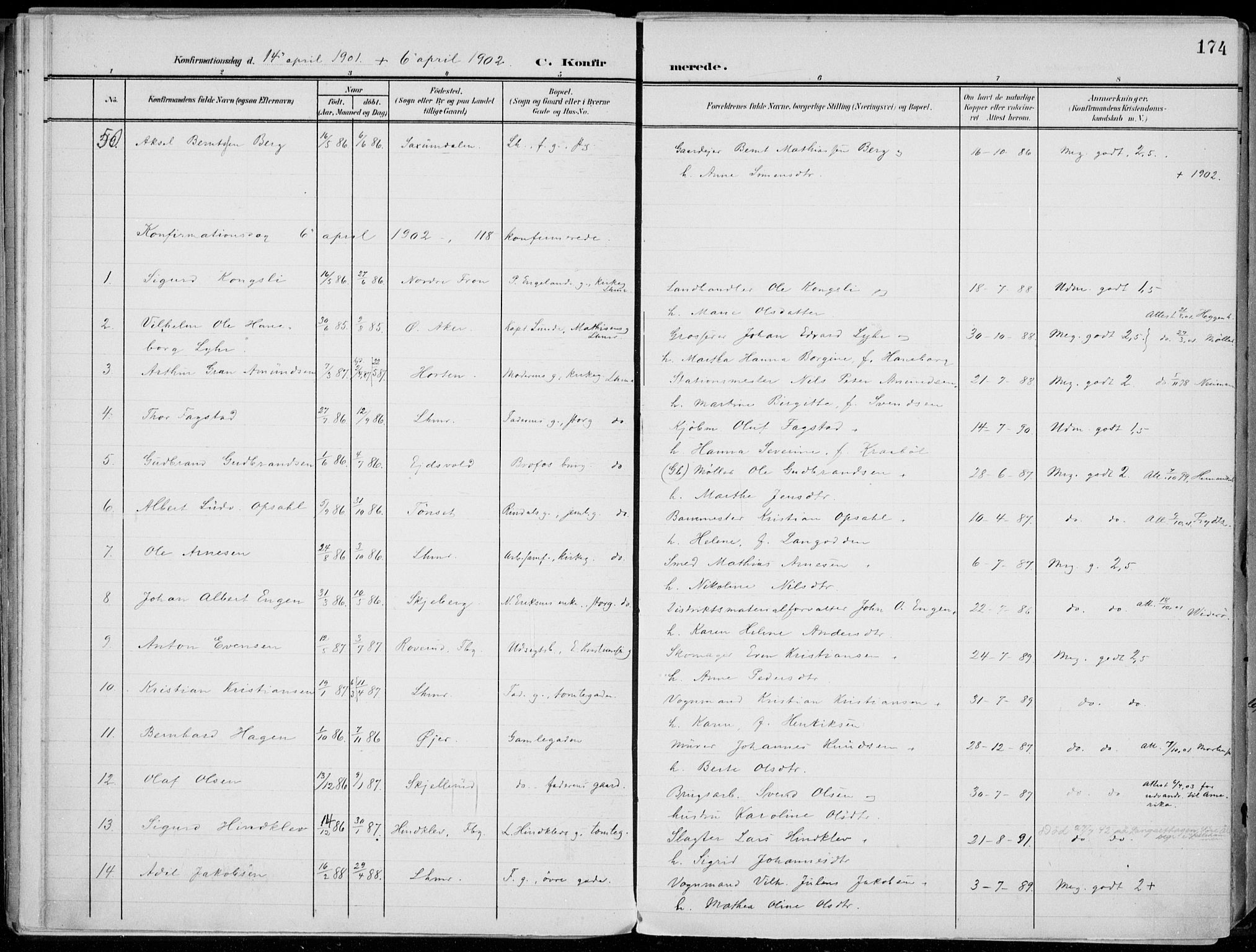 SAH, Lillehammer prestekontor, Ministerialbok nr. 1, 1901-1916, s. 174