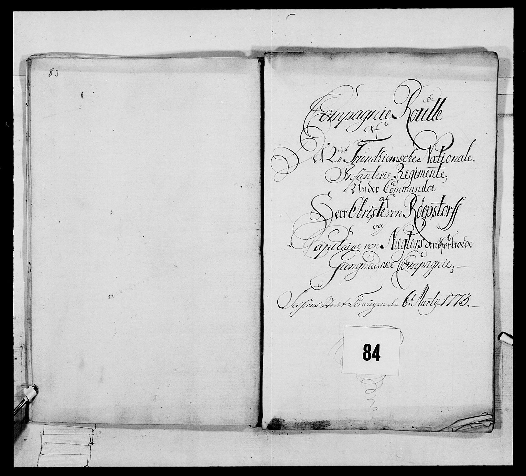 RA, Generalitets- og kommissariatskollegiet, Det kongelige norske kommissariatskollegium, E/Eh/L0076: 2. Trondheimske nasjonale infanteriregiment, 1766-1773, s. 444