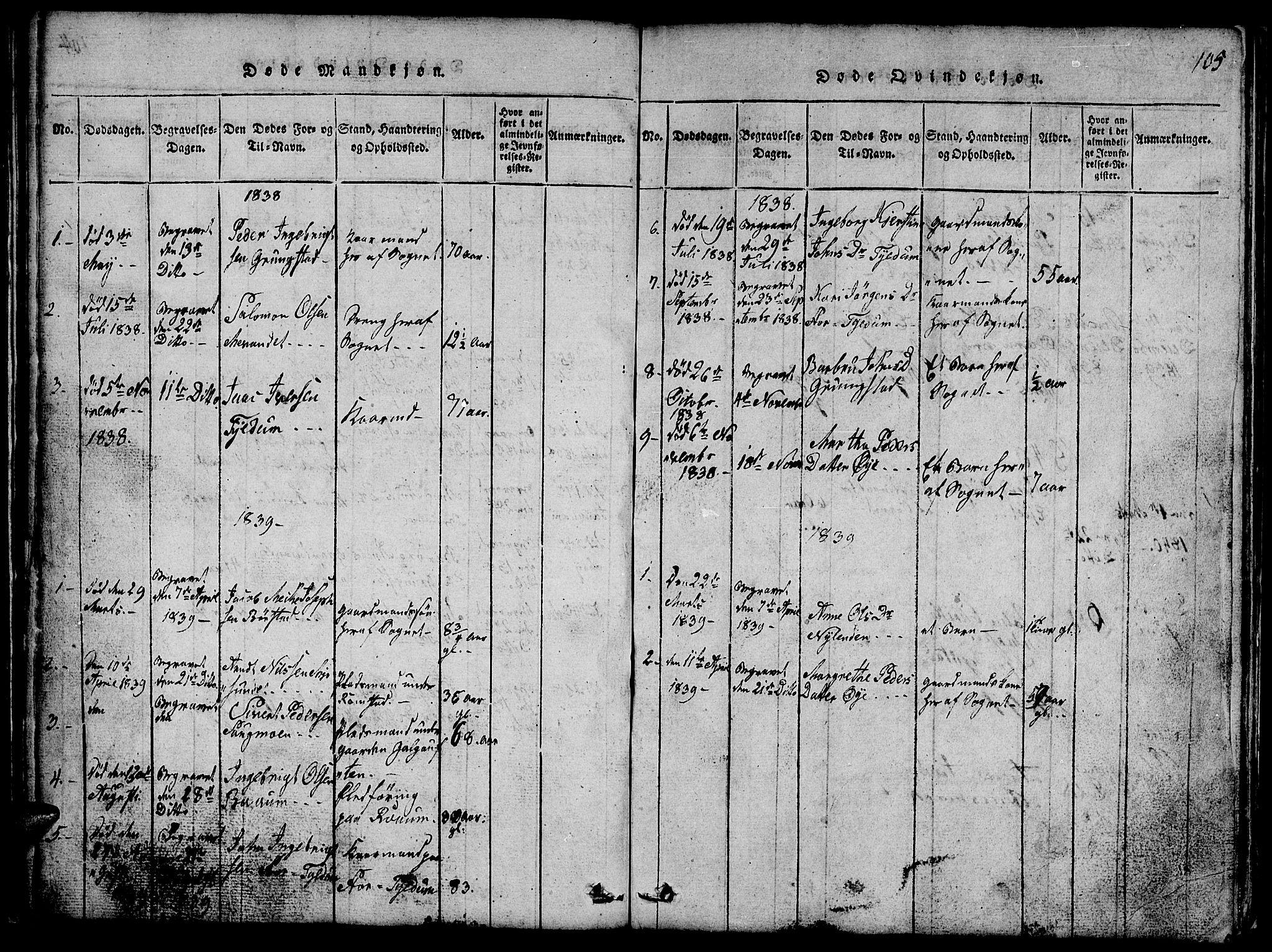 SAT, Ministerialprotokoller, klokkerbøker og fødselsregistre - Nord-Trøndelag, 765/L0562: Klokkerbok nr. 765C01, 1817-1851, s. 105