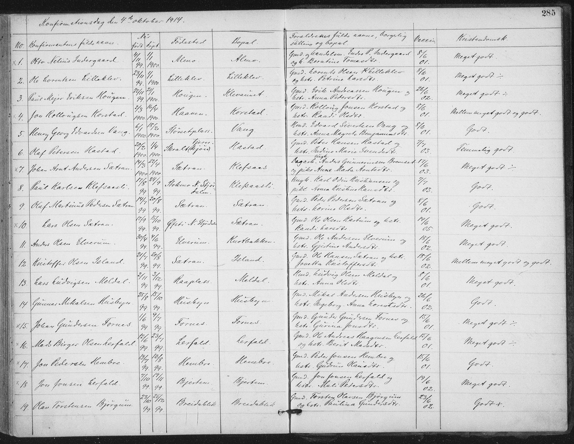 SAT, Ministerialprotokoller, klokkerbøker og fødselsregistre - Nord-Trøndelag, 703/L0031: Ministerialbok nr. 703A04, 1893-1914, s. 285