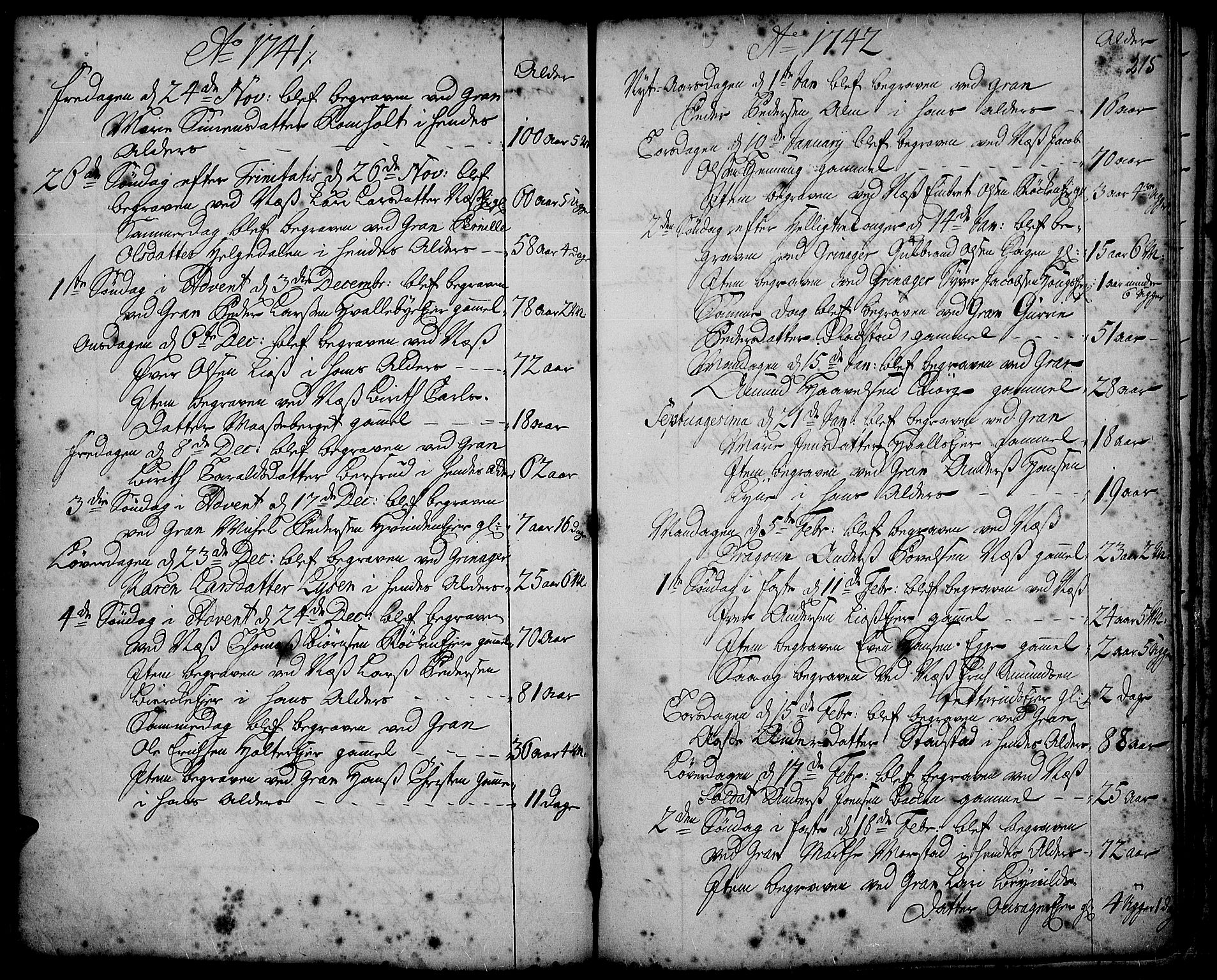 SAH, Gran prestekontor, Ministerialbok nr. 2, 1732-1744, s. 215