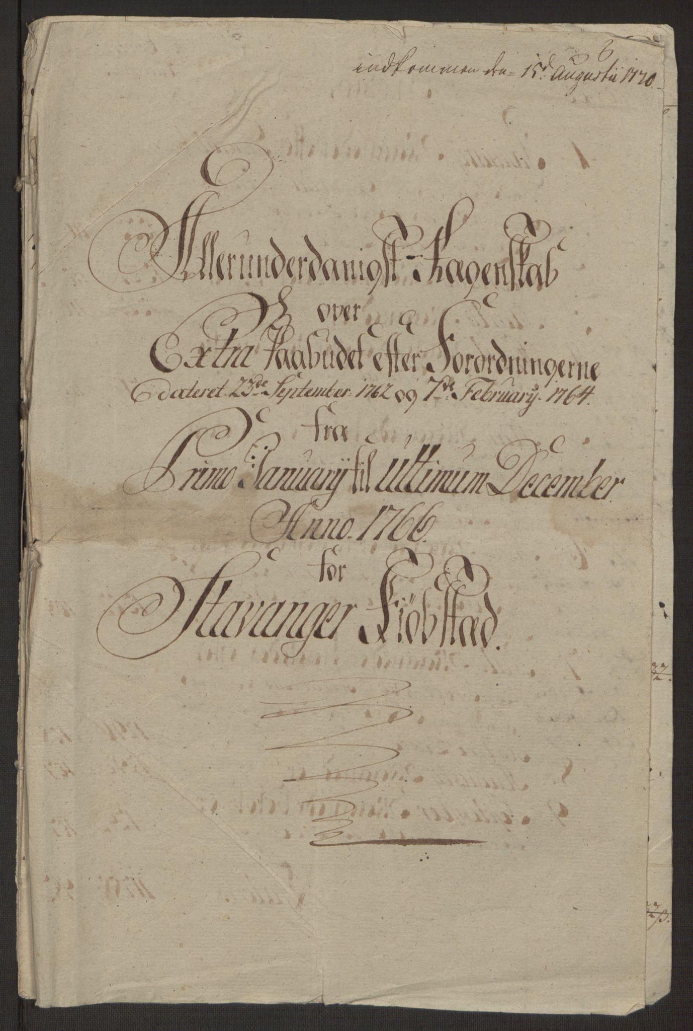 RA, Rentekammeret inntil 1814, Reviderte regnskaper, Byregnskaper, R/Ro/L0305: [O6] Kontribusjonsregnskap, 1762-1768, s. 144
