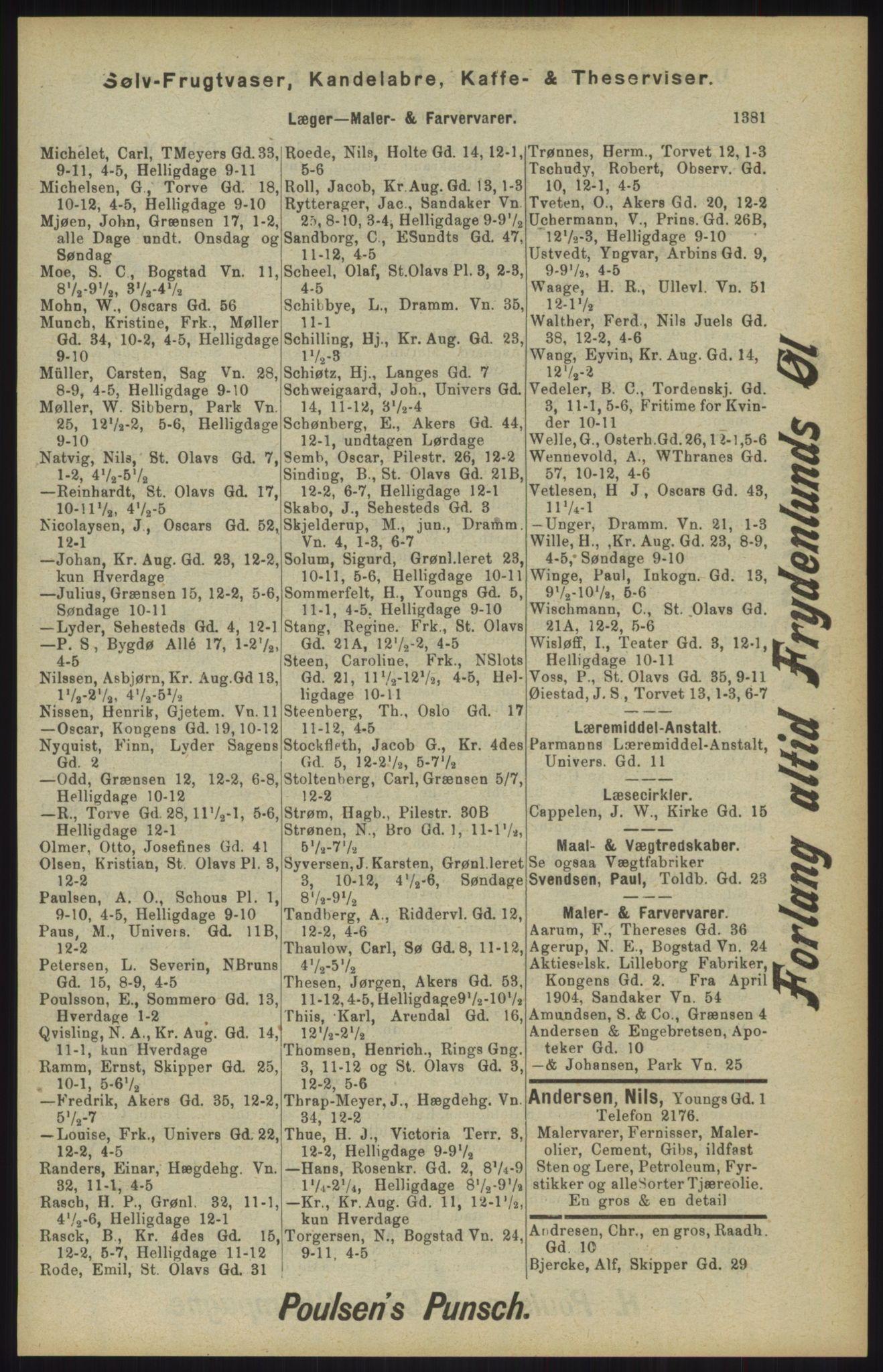 RA, Kristiania adressebok (publikasjon)*, 1904, s. 1381