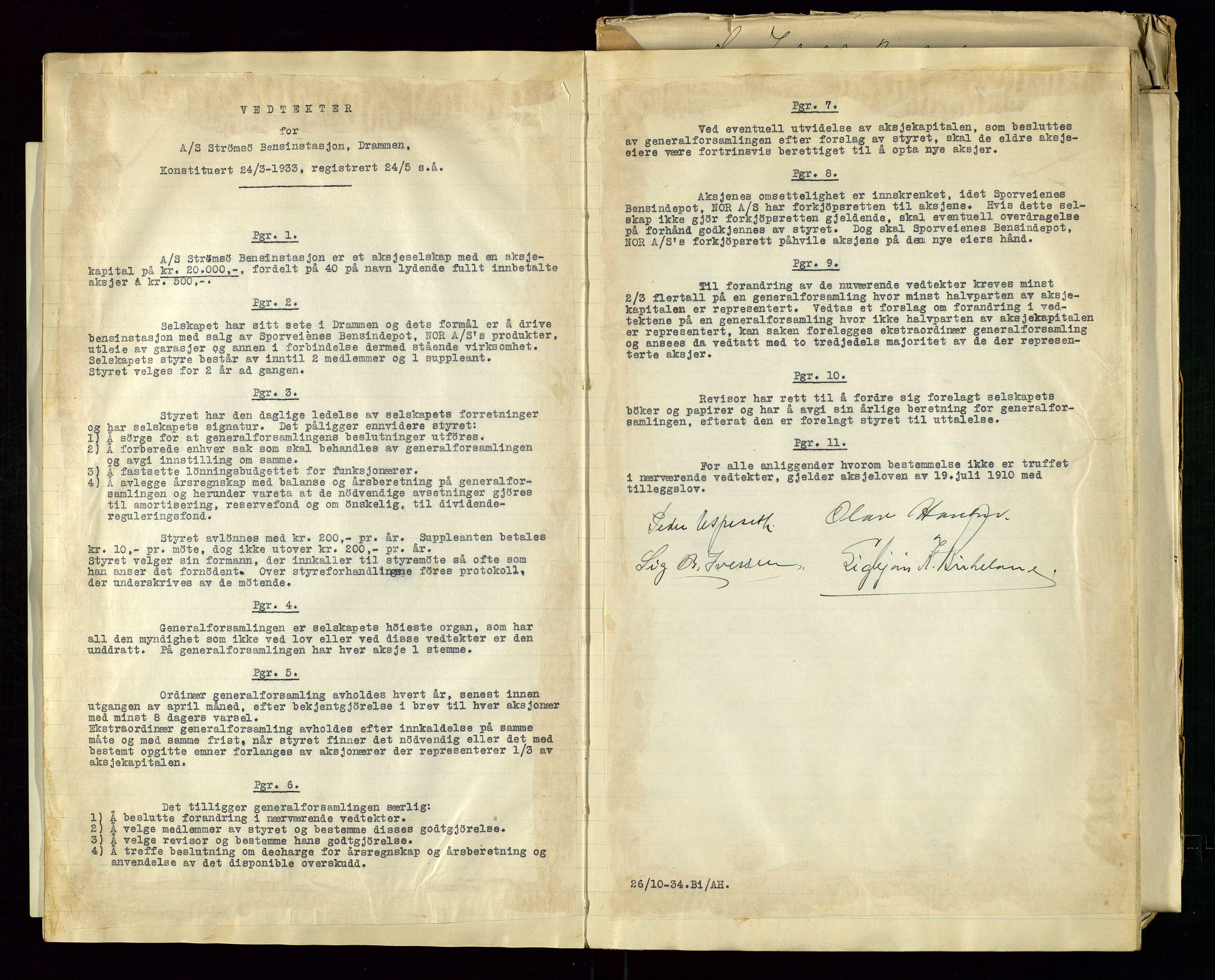 SAST, PA 1517 - A/S Strømsø Bensinstasjon, A/L0001: Referatprotokoll, 1933-1938, s. 14
