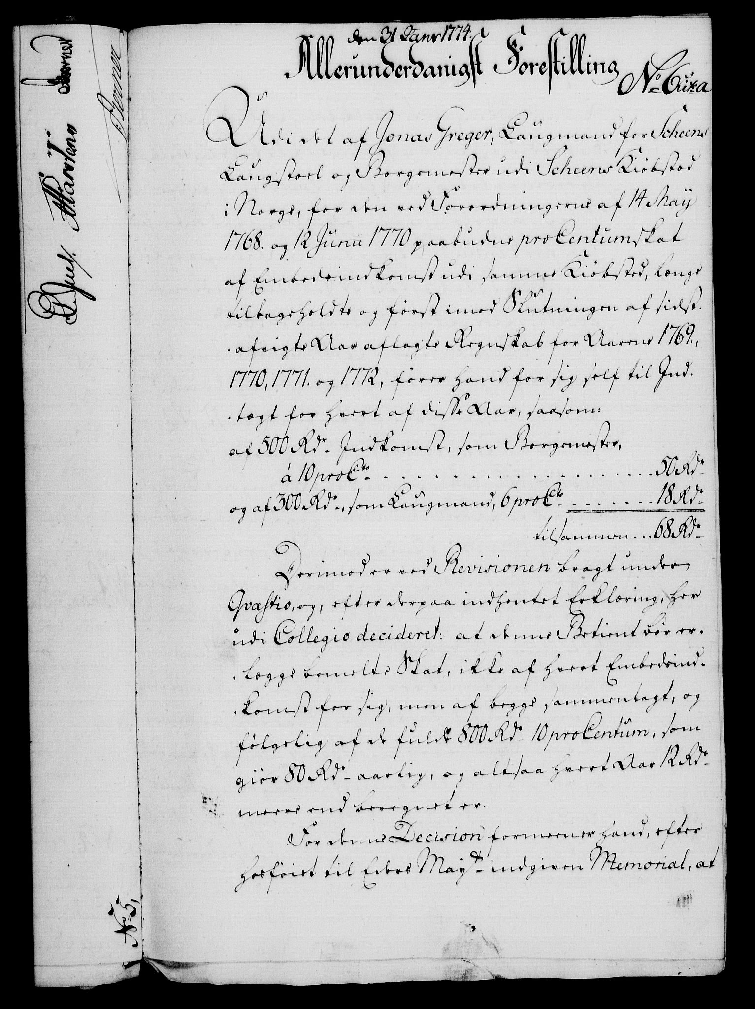 RA, Rentekammeret, Kammerkanselliet, G/Gf/Gfa/L0056: Norsk relasjons- og resolusjonsprotokoll (merket RK 52.56), 1774, s. 41