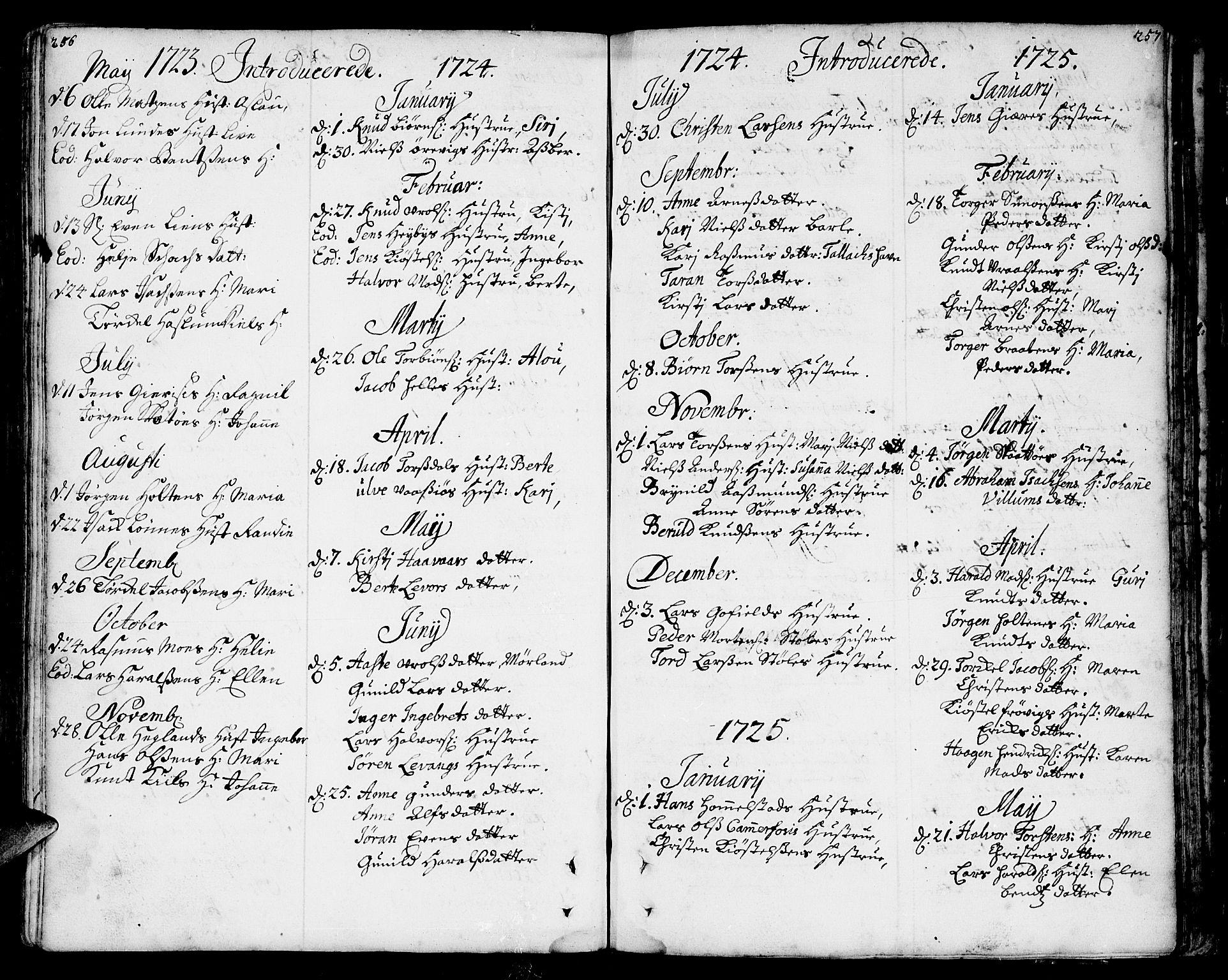 SAKO, Sannidal kirkebøker, F/Fa/L0001: Ministerialbok nr. 1, 1702-1766, s. 256-257
