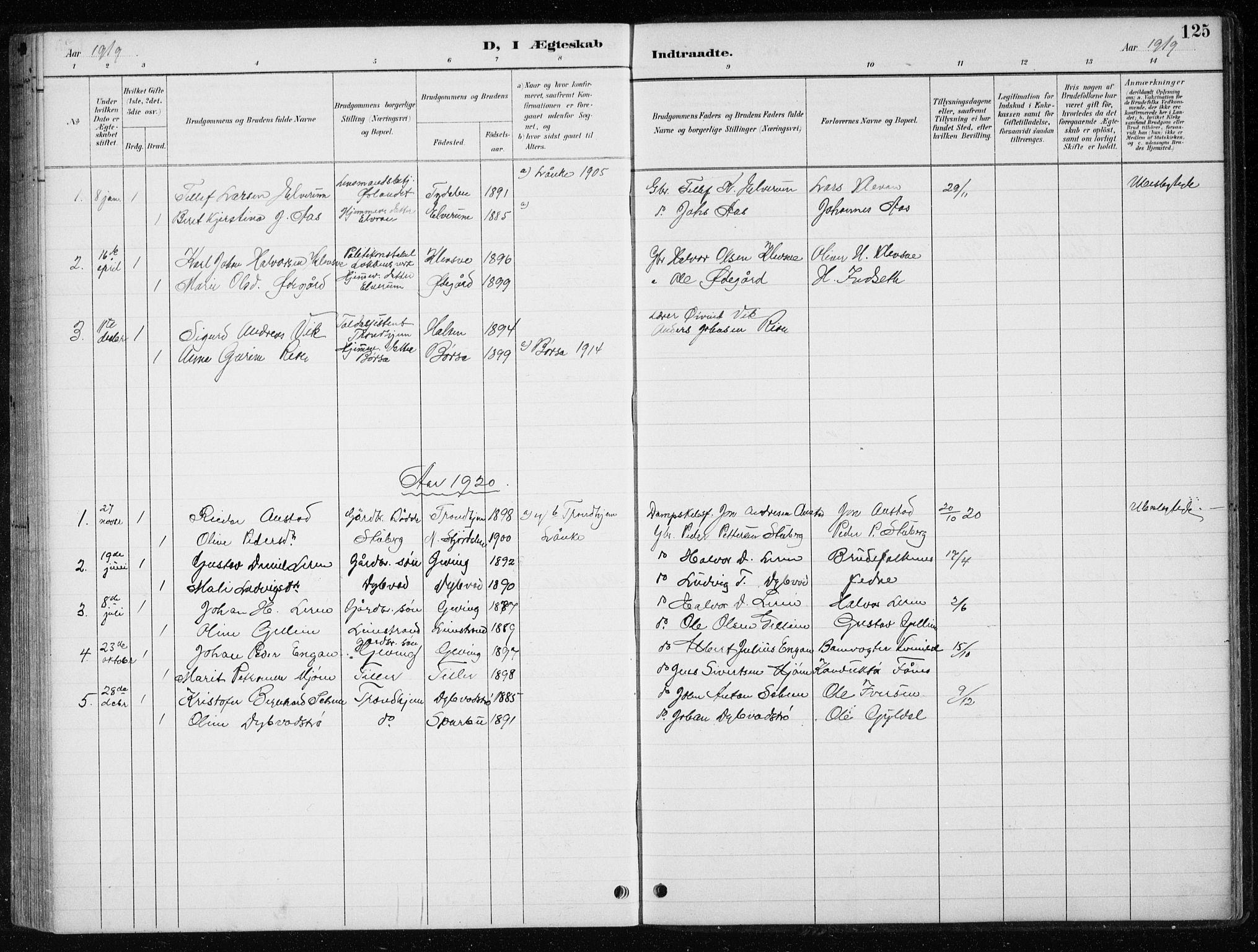 SAT, Ministerialprotokoller, klokkerbøker og fødselsregistre - Nord-Trøndelag, 710/L0096: Klokkerbok nr. 710C01, 1892-1925, s. 125