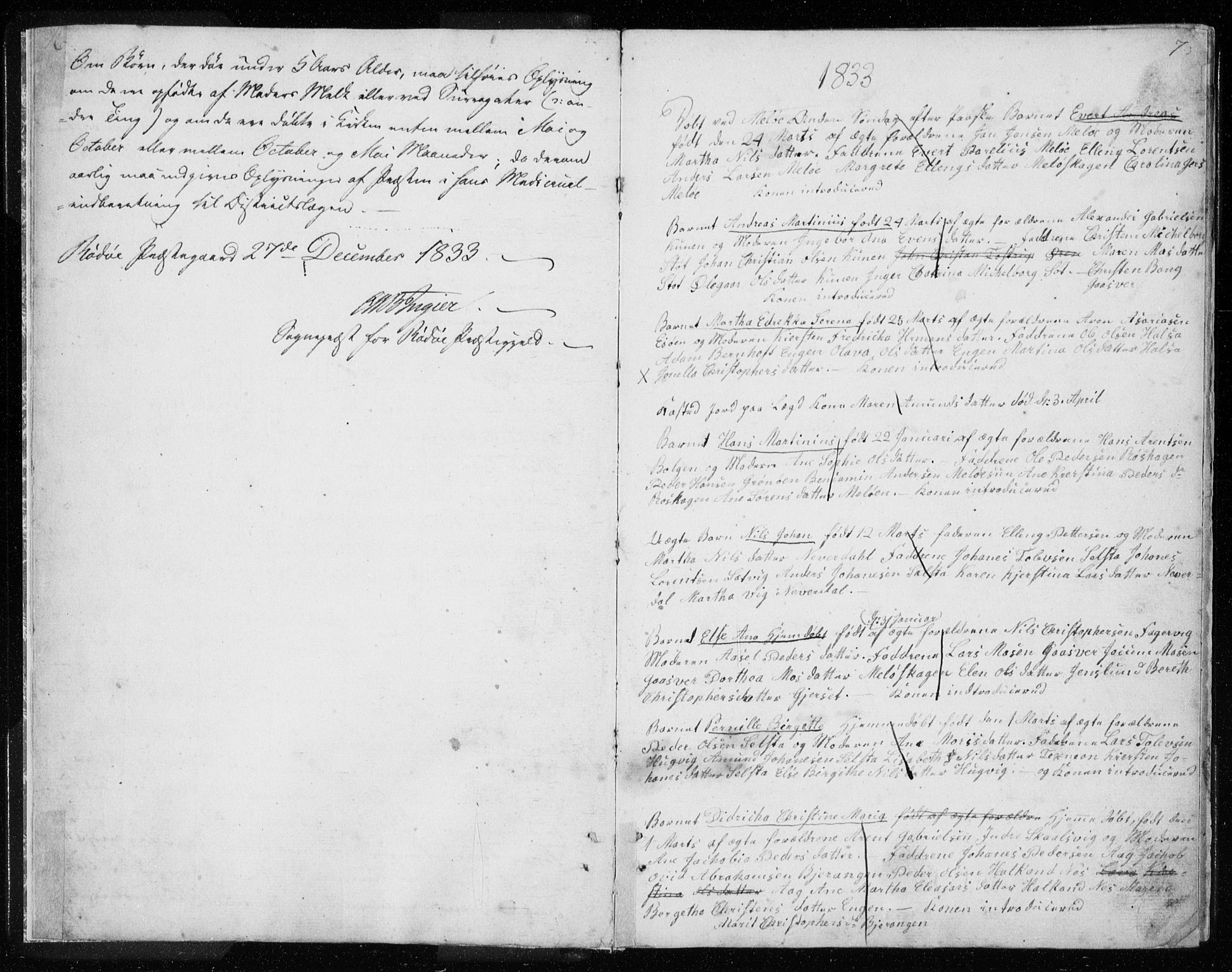 SAT, Ministerialprotokoller, klokkerbøker og fødselsregistre - Nordland, 843/L0632: Klokkerbok nr. 843C01, 1833-1853, s. 6-7