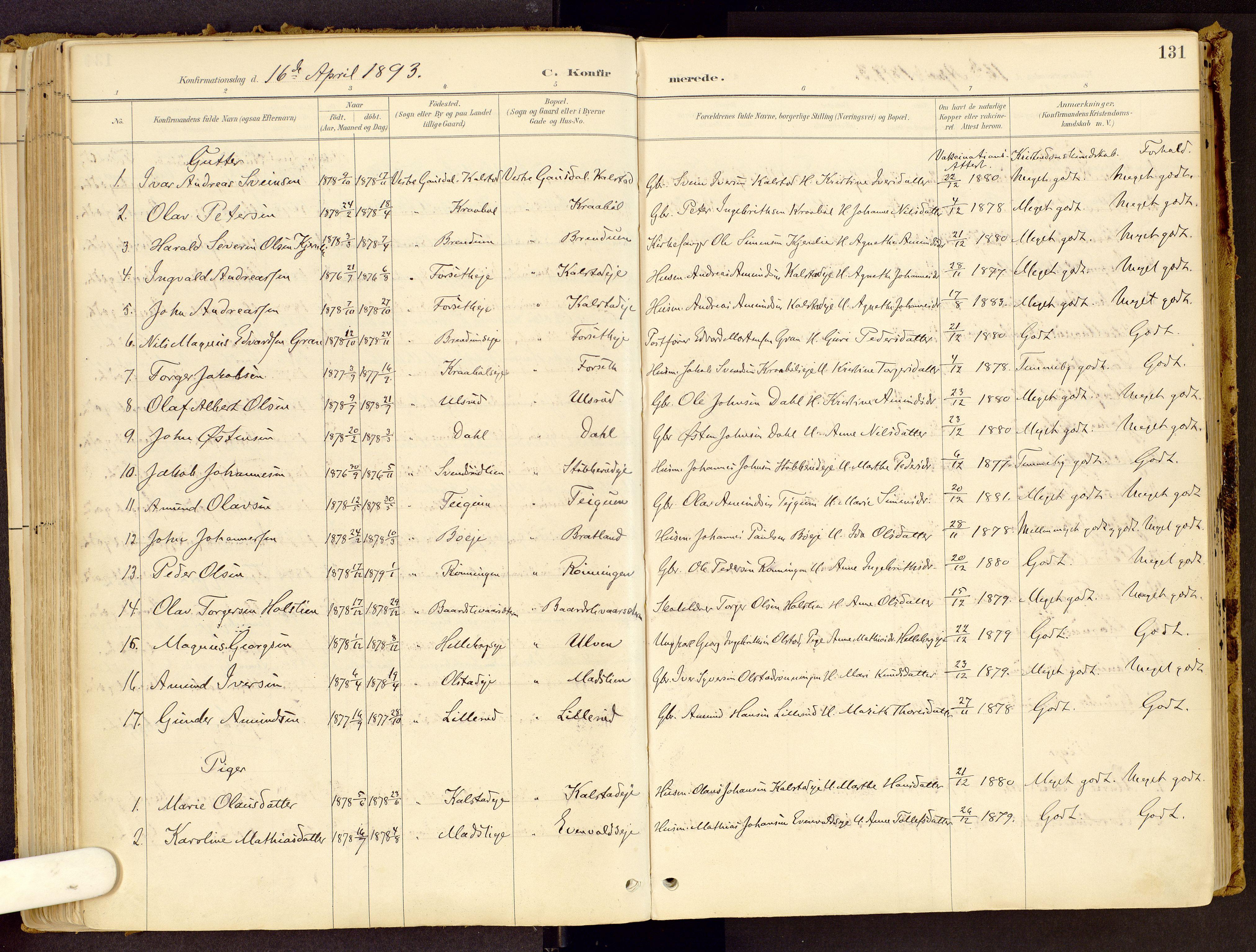 SAH, Vestre Gausdal prestekontor, Ministerialbok nr. 1, 1887-1914, s. 131