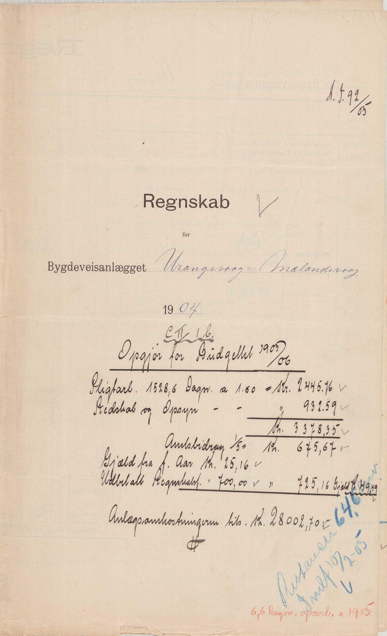 IKAH, Finnaas kommune. Formannskapet, E/Ea/L0002: Rekneskap for veganlegg, 1904-1905, s. 7