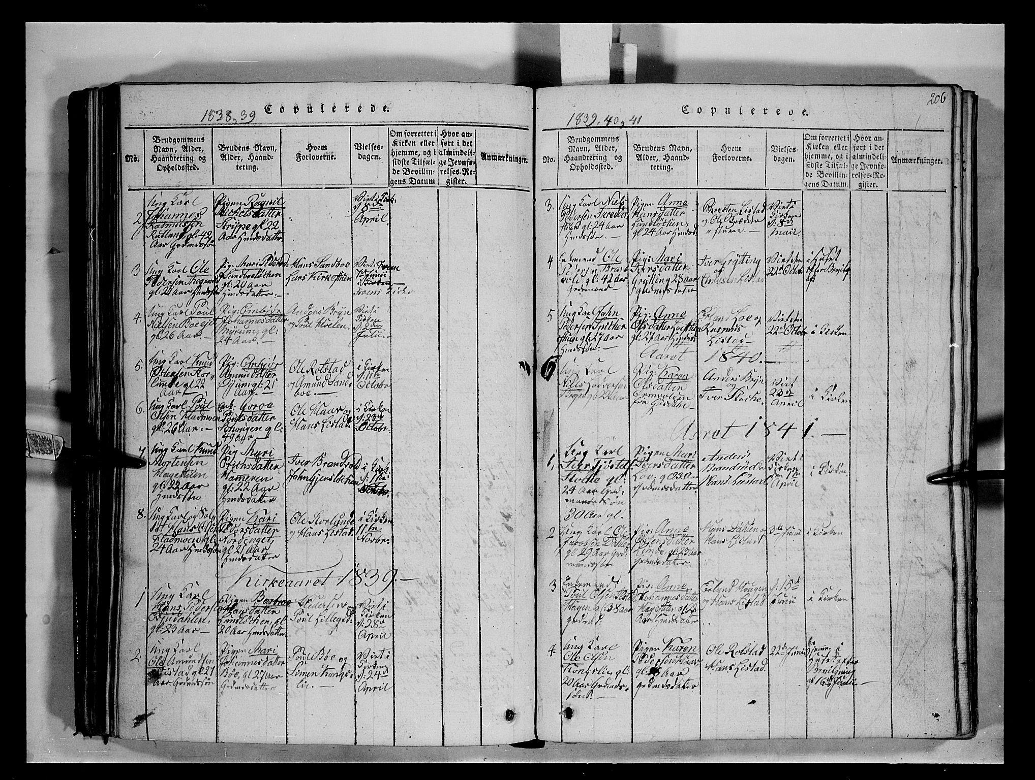 SAH, Fron prestekontor, H/Ha/Hab/L0004: Klokkerbok nr. 4, 1816-1850, s. 206