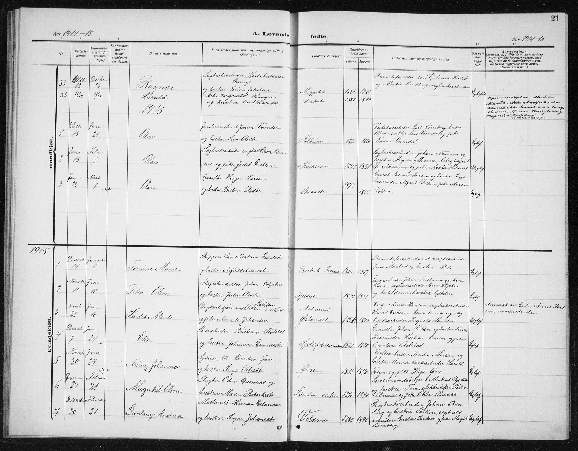 SAT, Ministerialprotokoller, klokkerbøker og fødselsregistre - Sør-Trøndelag, 617/L0431: Klokkerbok nr. 617C02, 1910-1936, s. 21