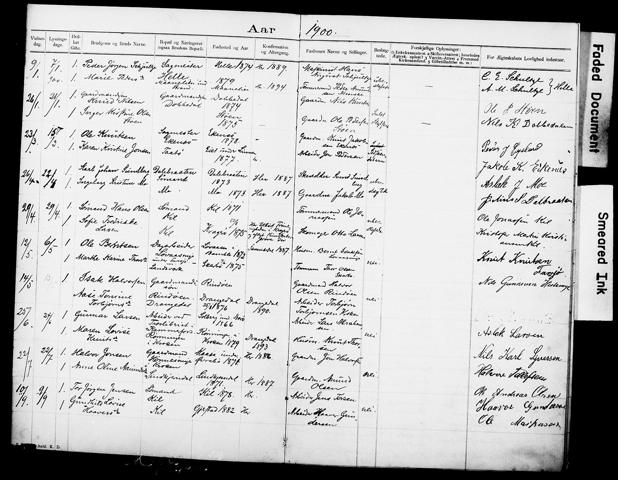 SAKO, Sannidal kirkebøker, H/Ha/L0001: Lysningsprotokoll nr. 1, 1900-1918