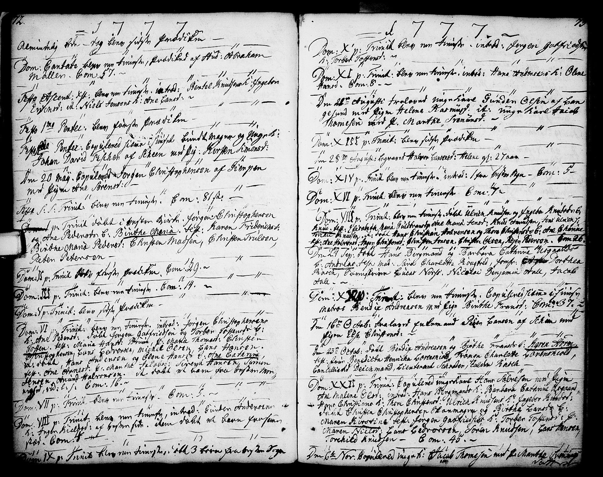 SAKO, Porsgrunn kirkebøker , F/Fa/L0002: Ministerialbok nr. 2, 1764-1814, s. 72-73