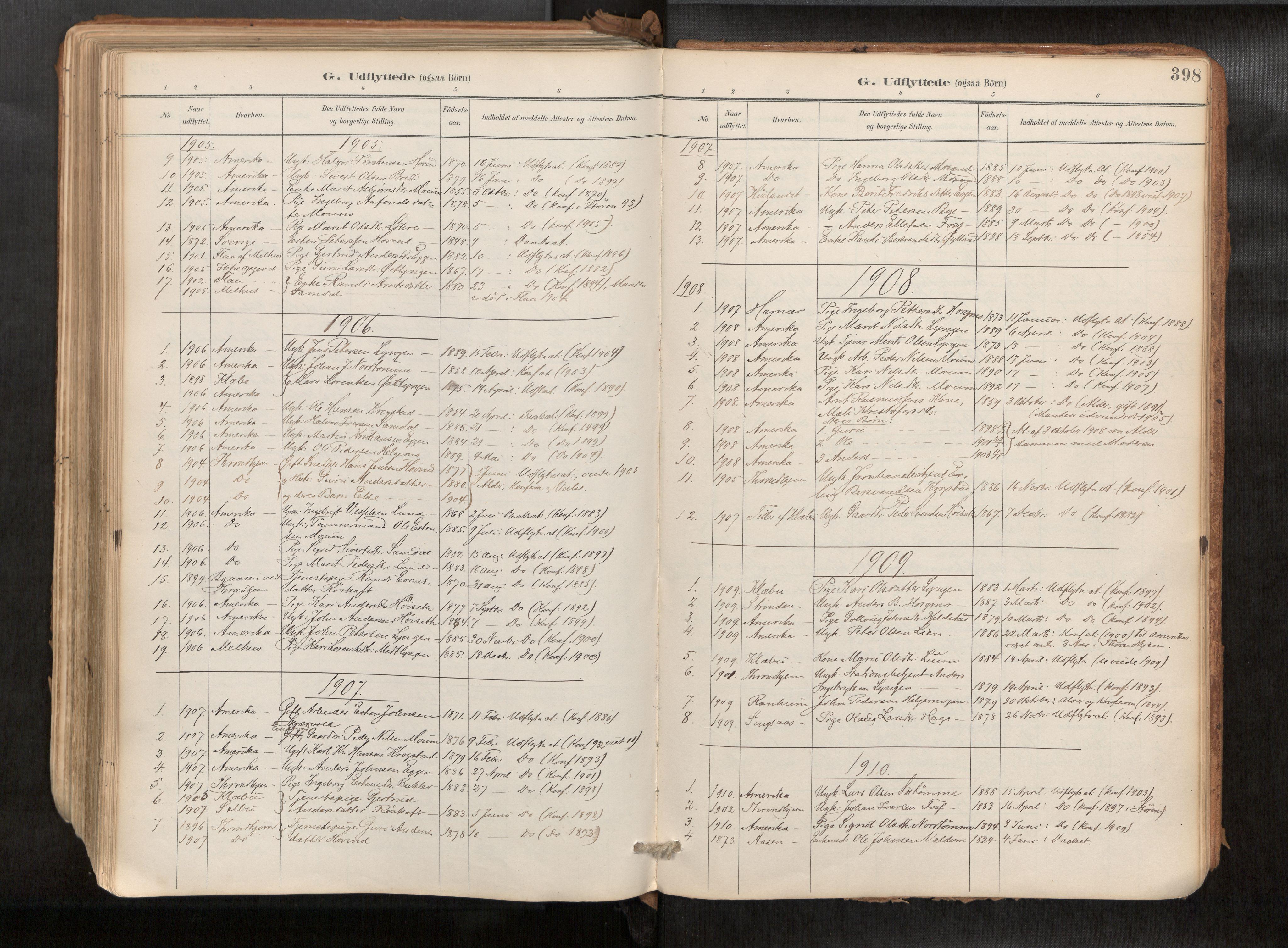 SAT, Ministerialprotokoller, klokkerbøker og fødselsregistre - Sør-Trøndelag, 692/L1105b: Ministerialbok nr. 692A06, 1891-1934, s. 398