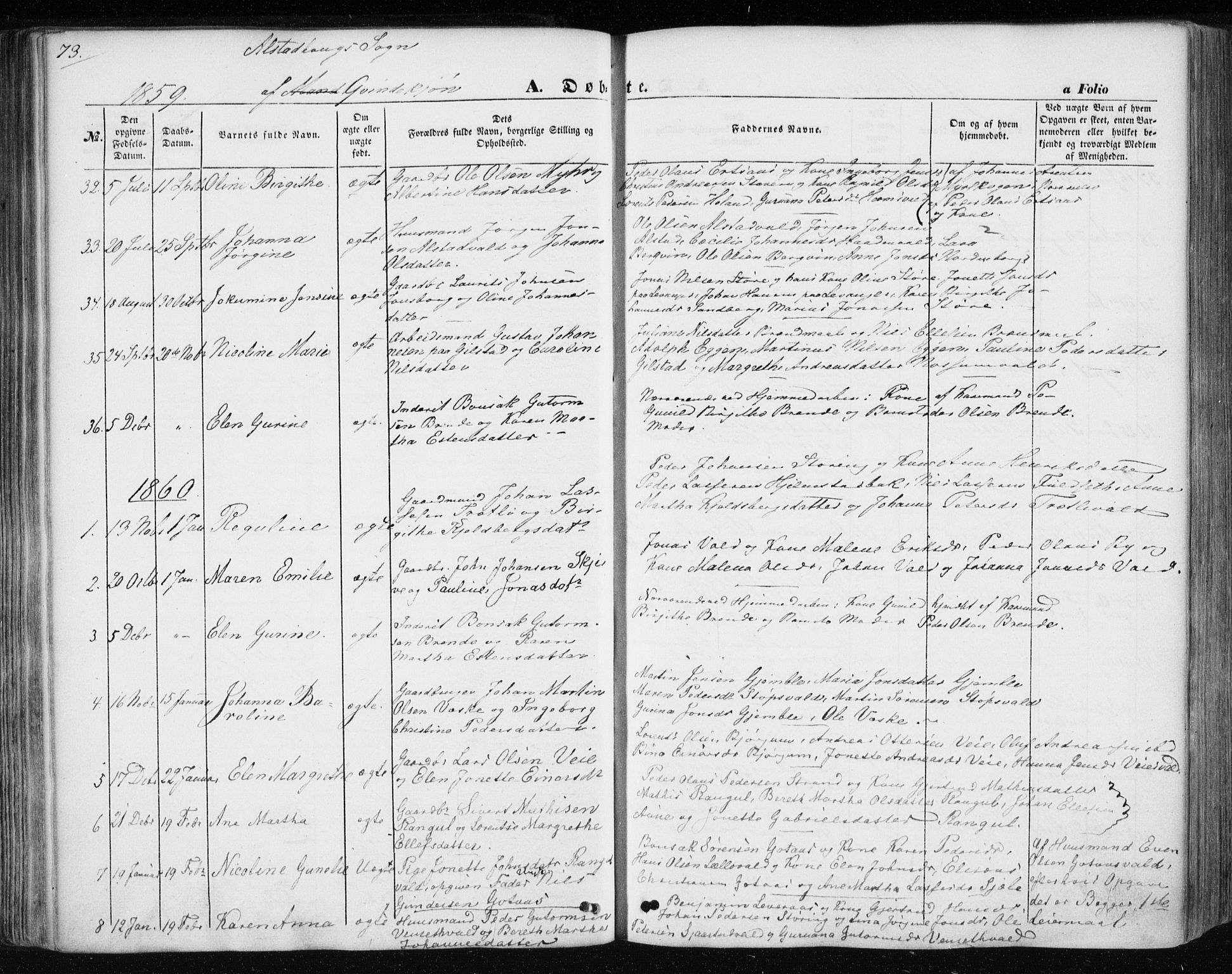 SAT, Ministerialprotokoller, klokkerbøker og fødselsregistre - Nord-Trøndelag, 717/L0154: Ministerialbok nr. 717A07 /1, 1850-1862, s. 73