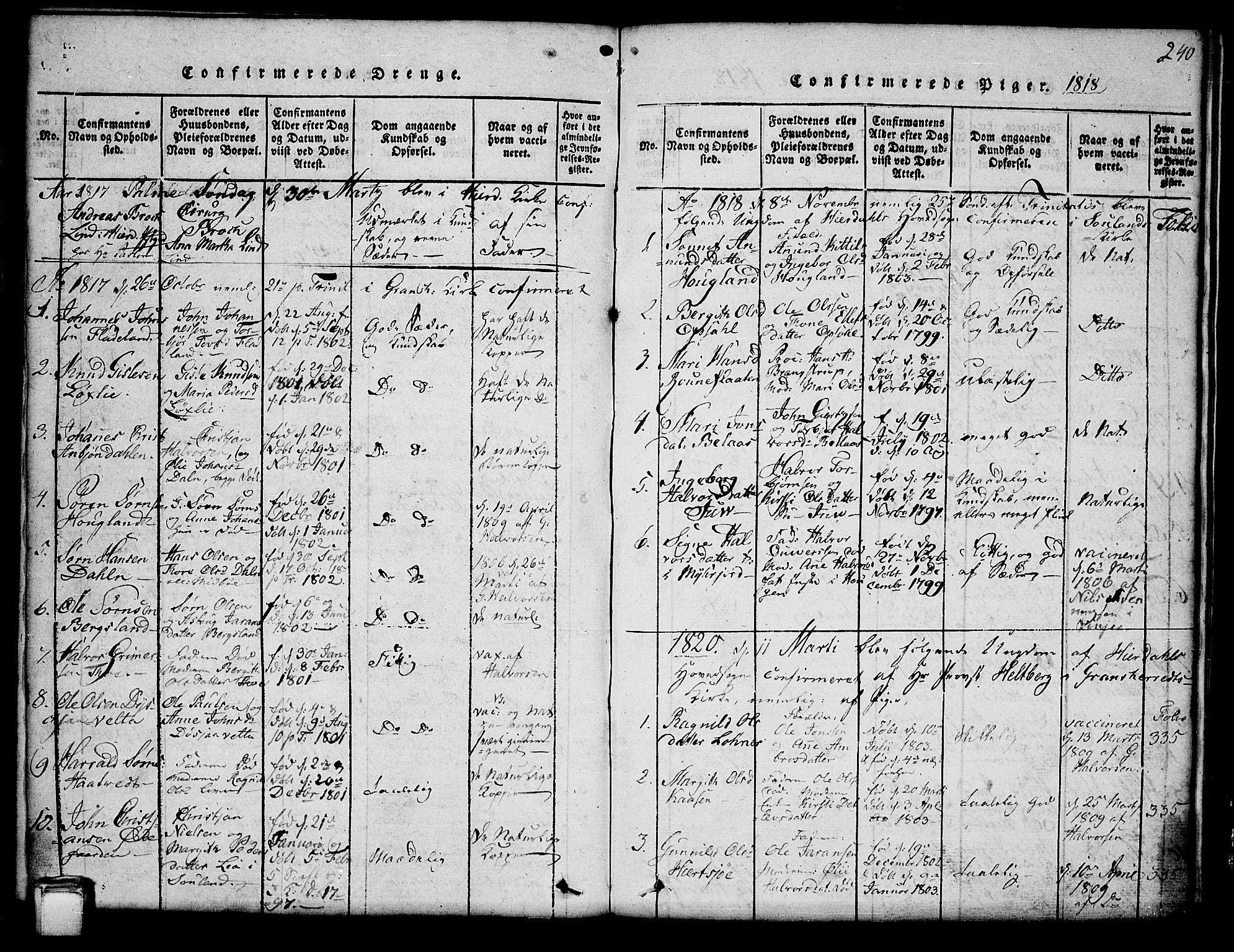 SAKO, Hjartdal kirkebøker, G/Ga/L0001: Klokkerbok nr. I 1, 1815-1842, s. 240