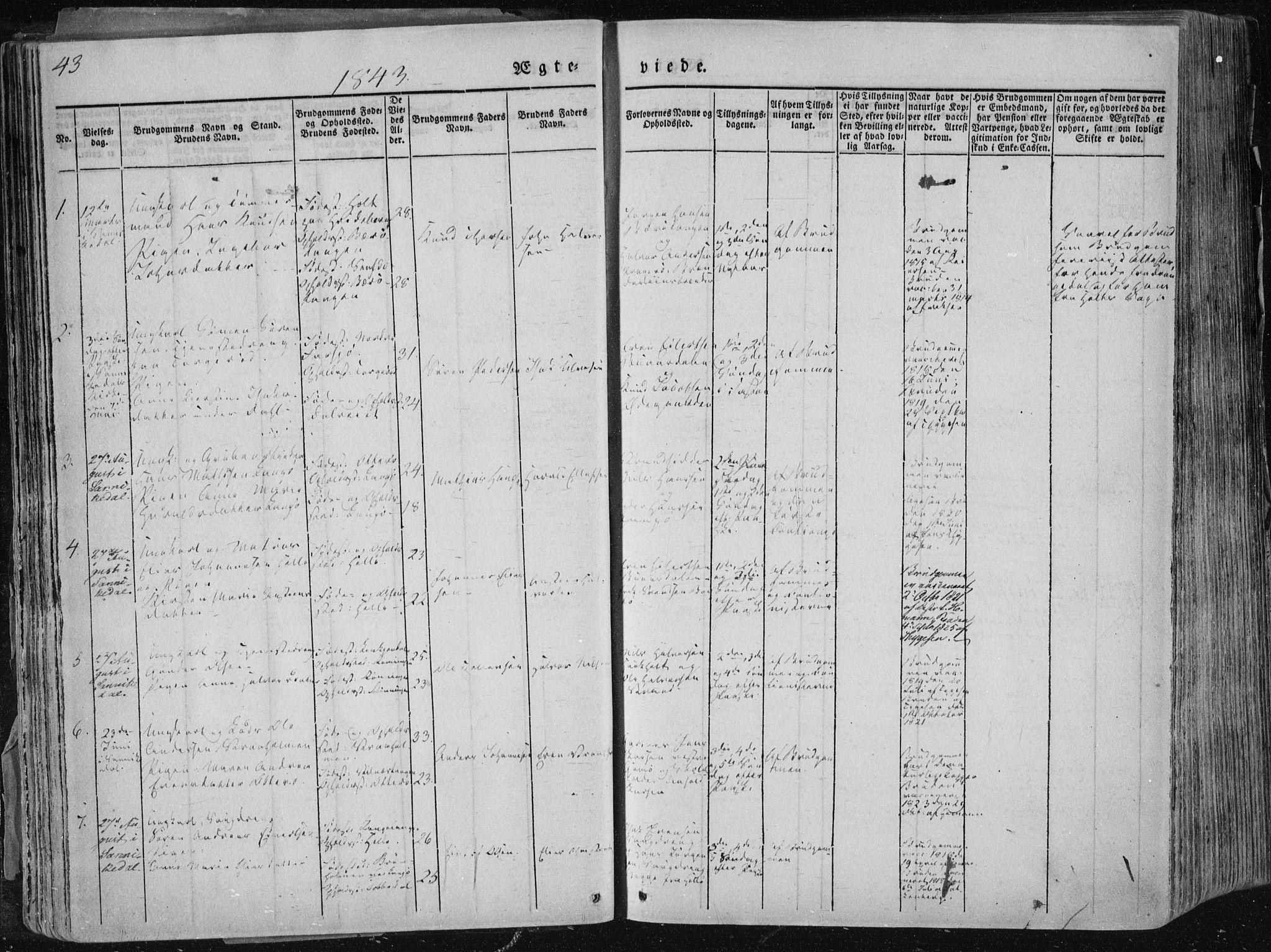 SAKO, Sannidal kirkebøker, F/Fa/L0007: Ministerialbok nr. 7, 1831-1854, s. 43
