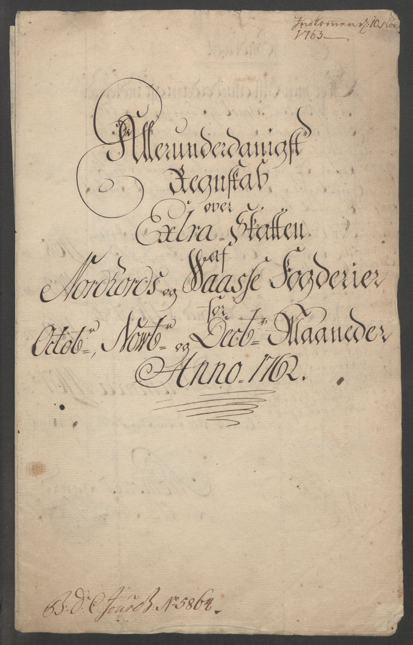 RA, Rentekammeret inntil 1814, Reviderte regnskaper, Fogderegnskap, R51/L3303: Ekstraskatten Nordhordland og Voss, 1762-1772, s. 5