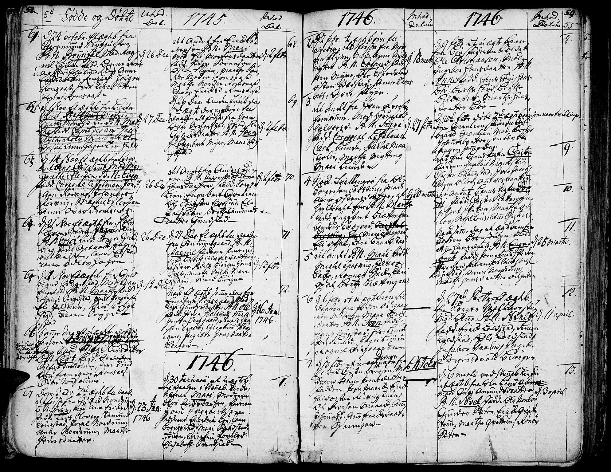SAH, Ringebu prestekontor, Ministerialbok nr. 2, 1734-1780, s. 54-55