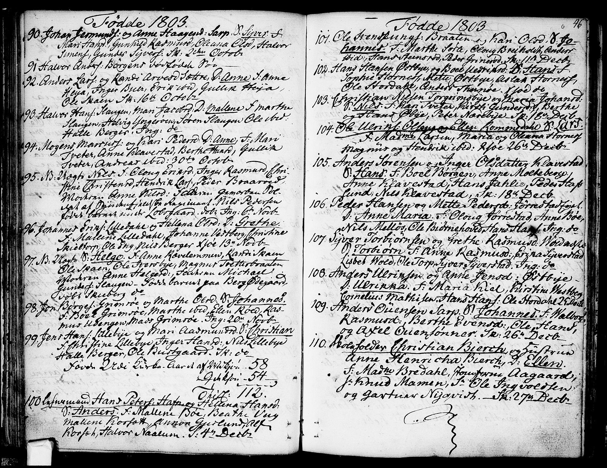 SAO, Skjeberg prestekontor Kirkebøker, F/Fa/L0003: Ministerialbok nr. I 3, 1792-1814, s. 46