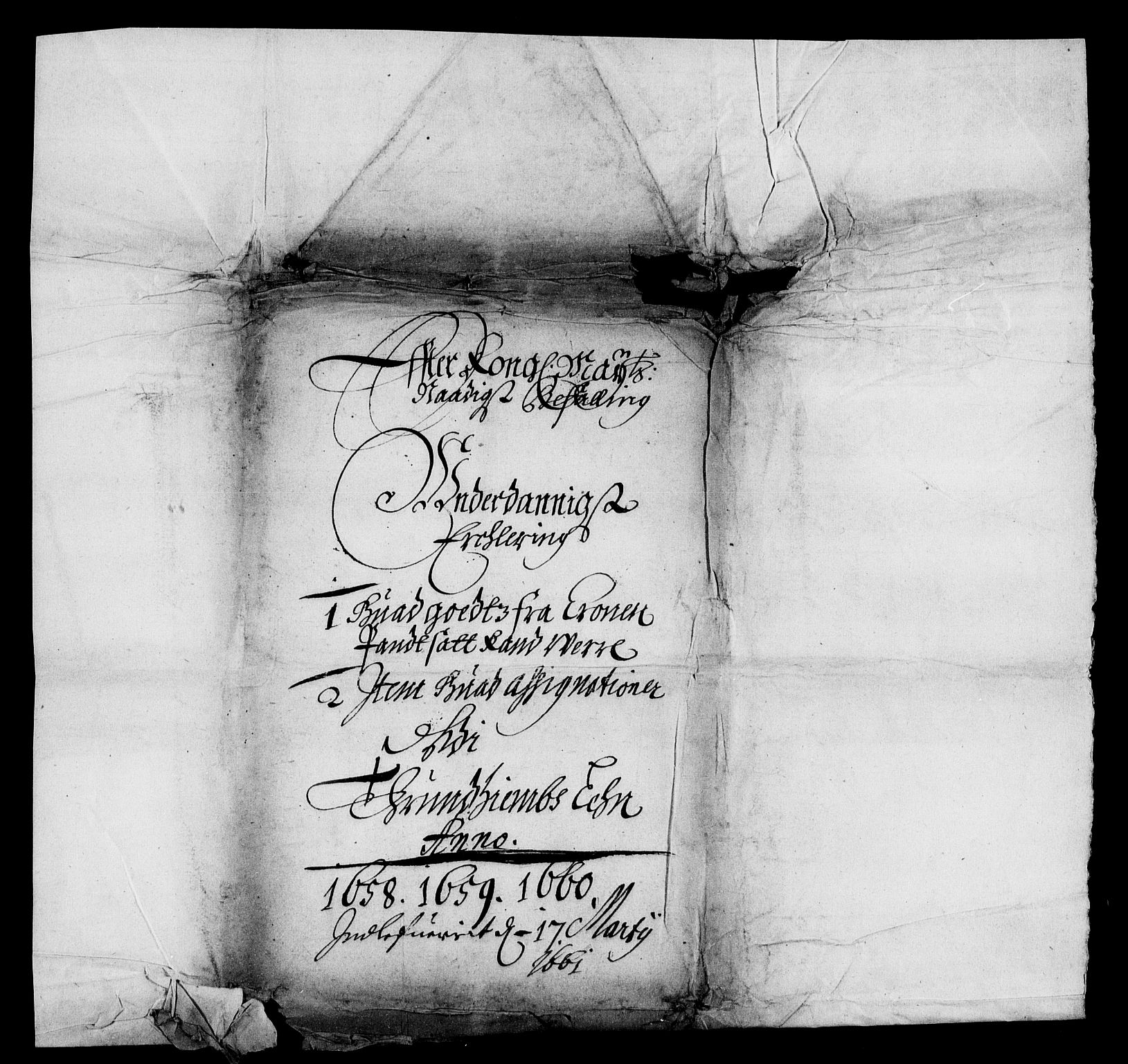 RA, Rentekammeret inntil 1814, Realistisk ordnet avdeling, On/L0012: [Jj 13]: Regnskap for salg av pantsatt krongods i Bergen og Trondheim stift 1662-1663, panteskjøter 1629-1660. Dokumenter vedr. Bakke og Rein kloster (-1672), Marselis gods (1658-1660). Fortegnelse over pantsatt gods i Christiania lagdømme 1658-1660. Pant, 1658-1660, s. 2