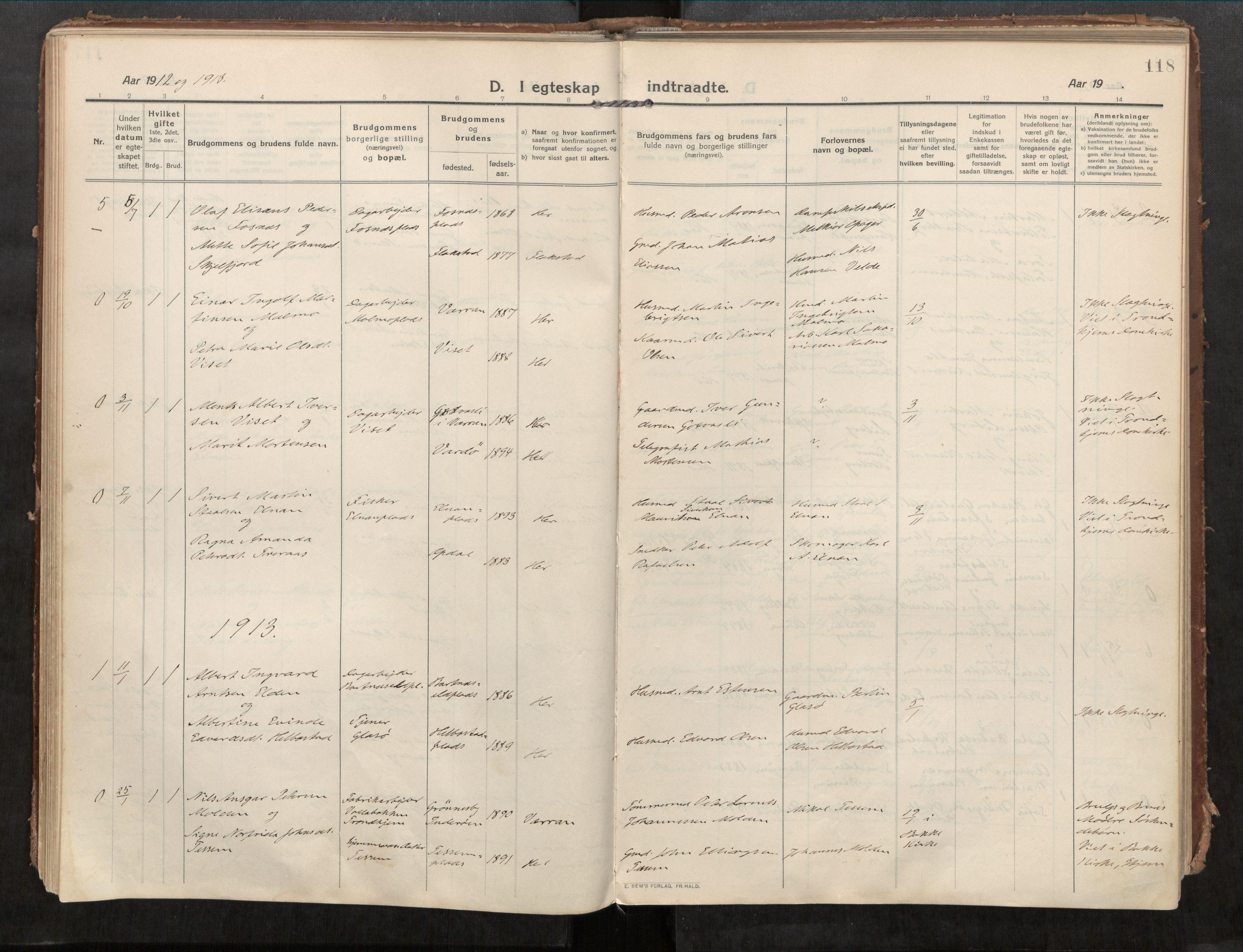 SAT, Beitstad sokneprestkontor, I/I1/I1a/L0001: Ministerialbok nr. 1, 1912-1927, s. 118