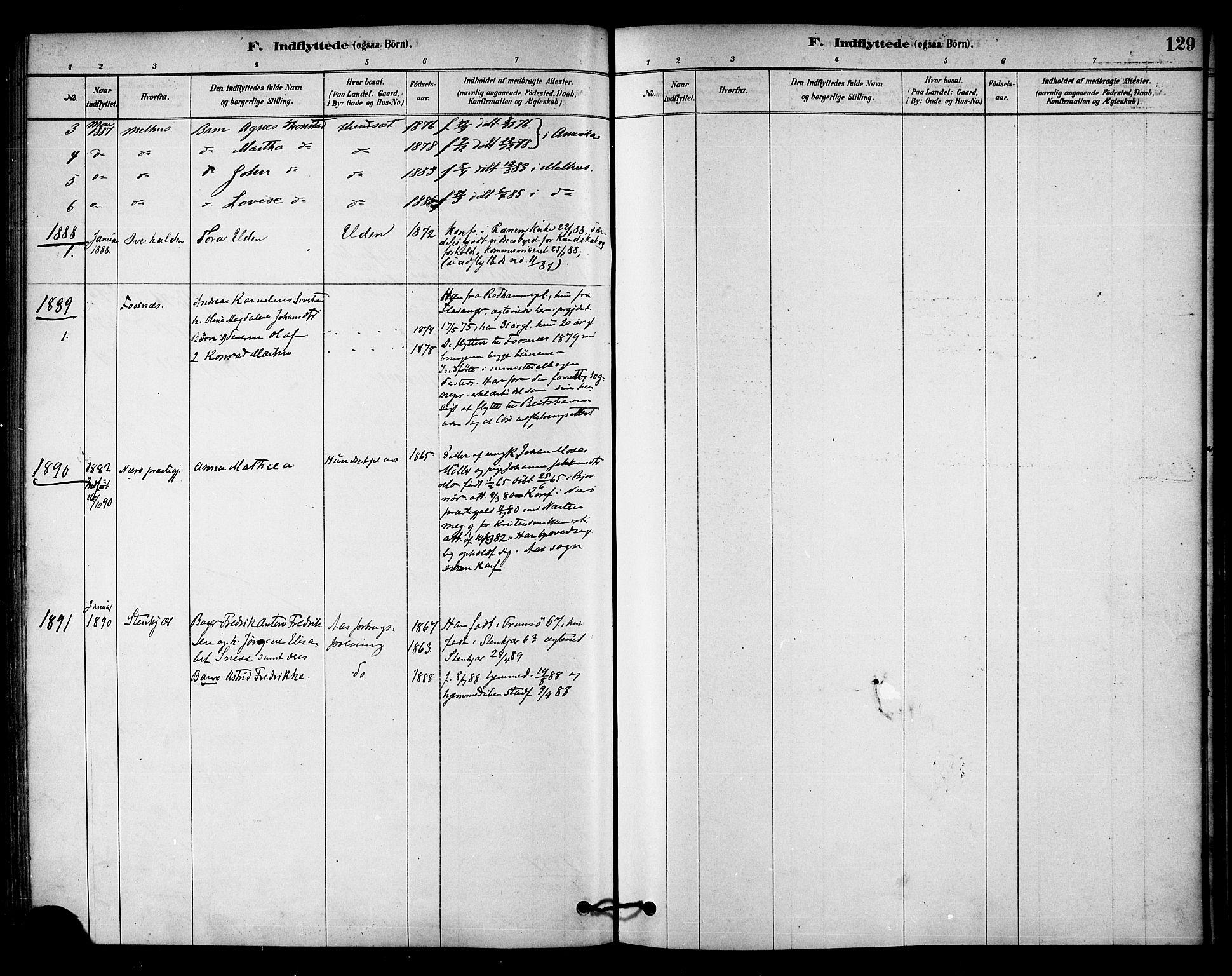 SAT, Ministerialprotokoller, klokkerbøker og fødselsregistre - Nord-Trøndelag, 742/L0408: Ministerialbok nr. 742A01, 1878-1890, s. 129