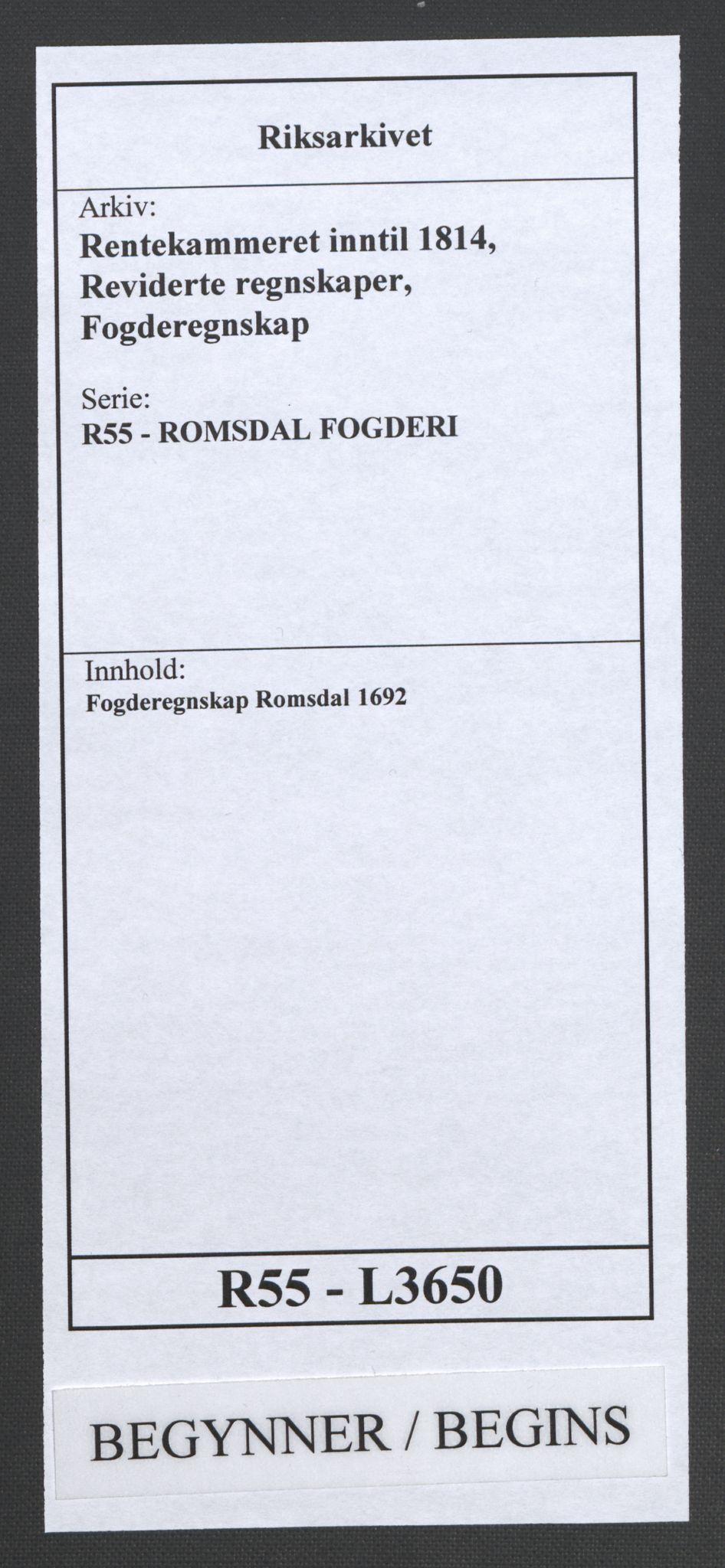 RA, Rentekammeret inntil 1814, Reviderte regnskaper, Fogderegnskap, R55/L3650: Fogderegnskap Romsdal, 1692, s. 1