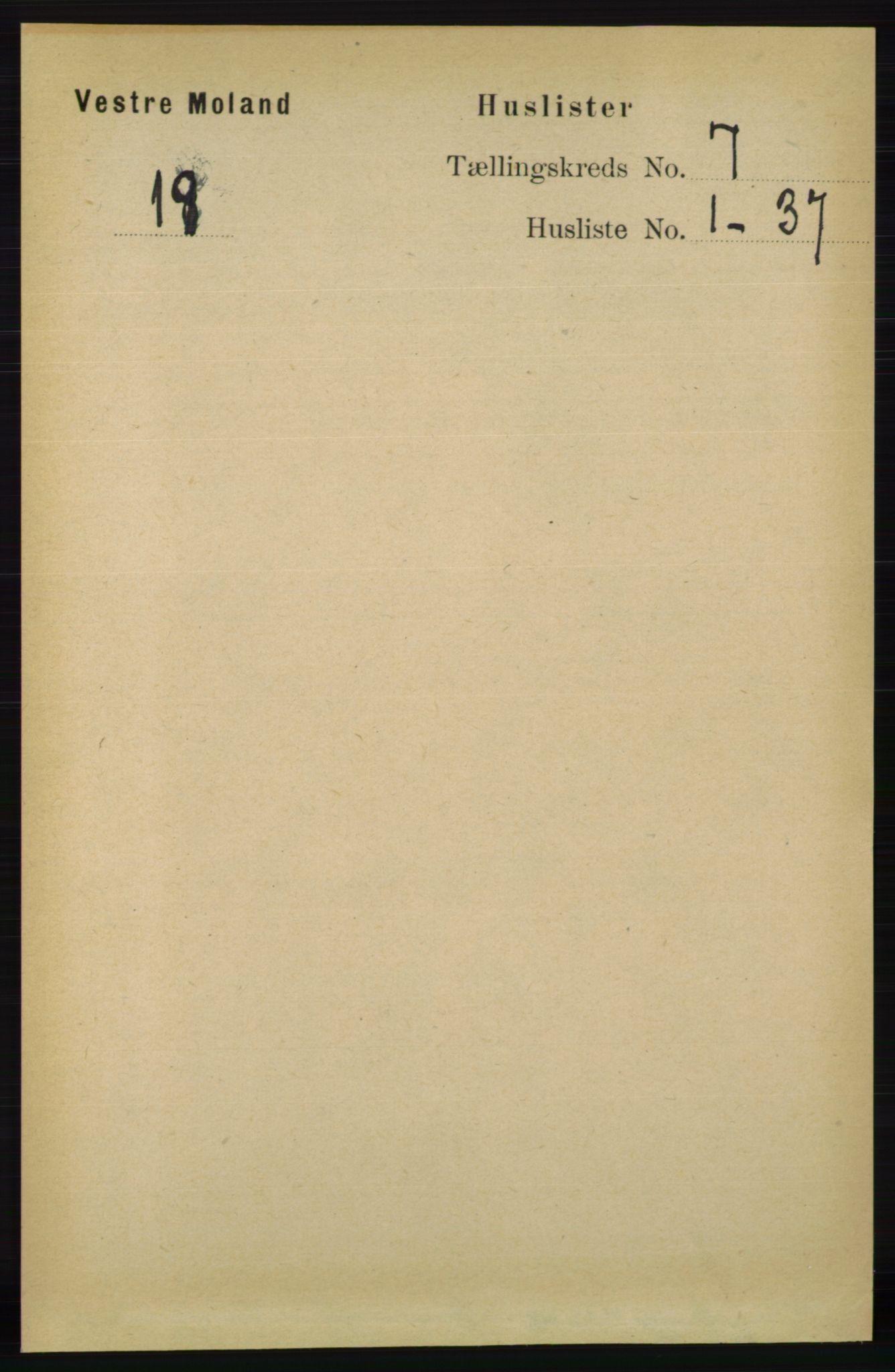 RA, Folketelling 1891 for 0926 Vestre Moland herred, 1891, s. 2759