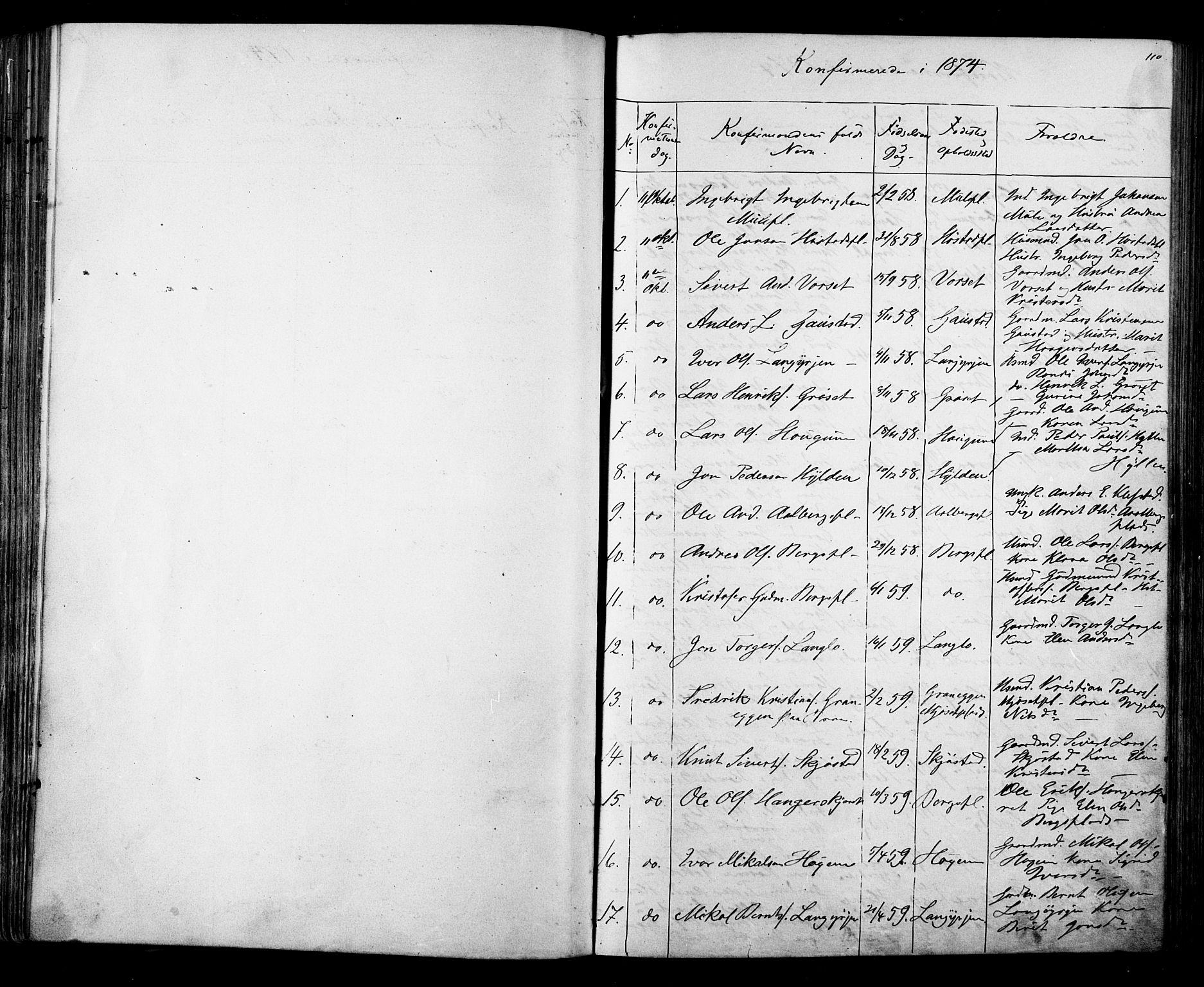 SAT, Ministerialprotokoller, klokkerbøker og fødselsregistre - Sør-Trøndelag, 612/L0387: Klokkerbok nr. 612C03, 1874-1908, s. 110