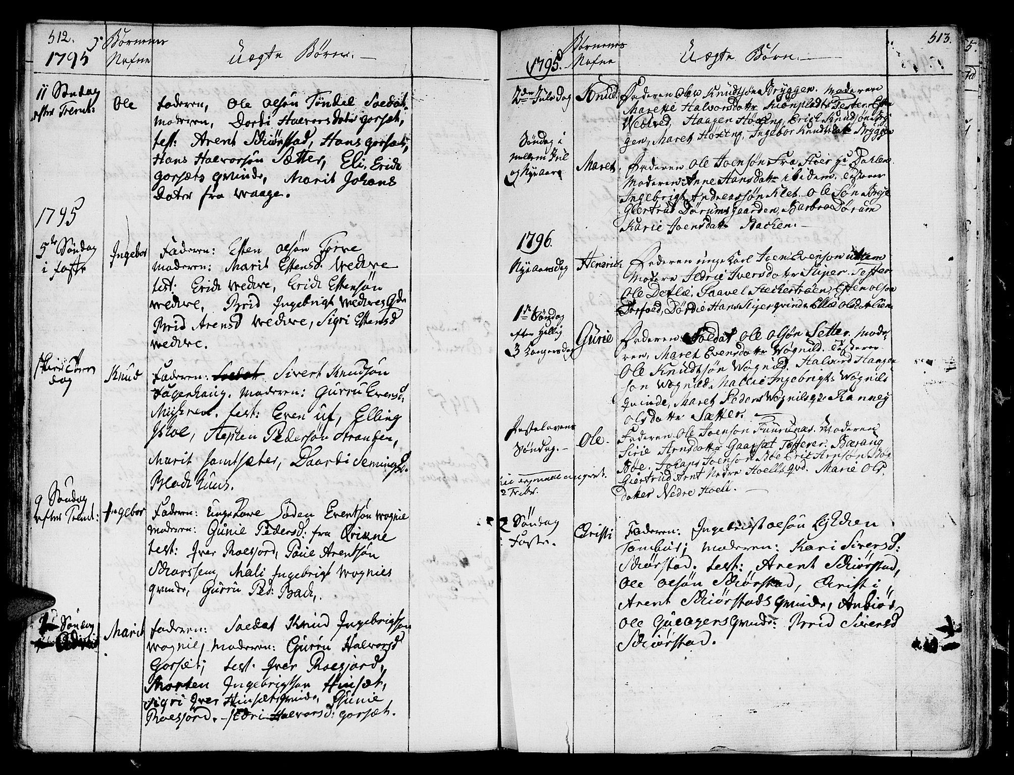 SAT, Ministerialprotokoller, klokkerbøker og fødselsregistre - Sør-Trøndelag, 678/L0893: Ministerialbok nr. 678A03, 1792-1805, s. 512-513